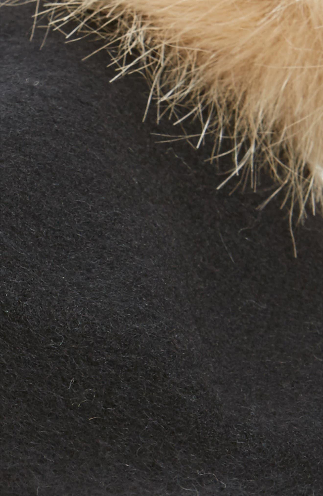 Faux Fur Pompom Beret,                             Alternate thumbnail 2, color,                             001