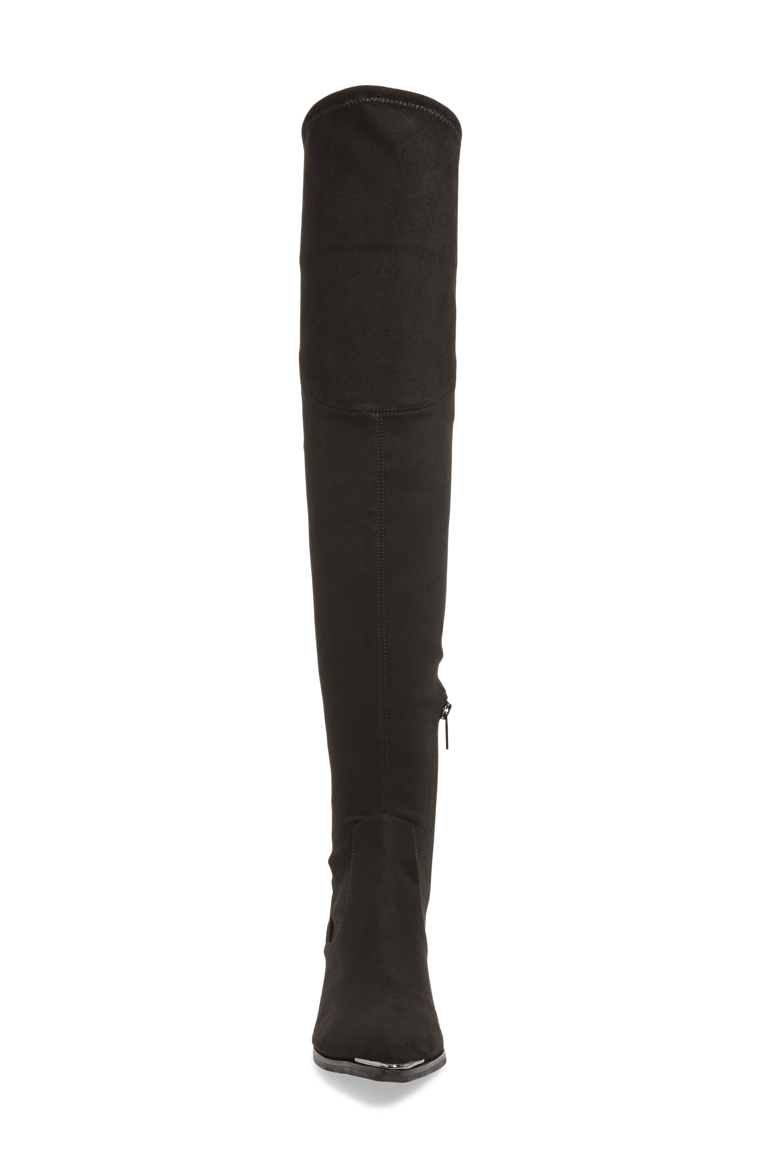 Yuna Over the Knee Boot,                             Alternate thumbnail 4, color,                             BLACK FAUX SUEDE