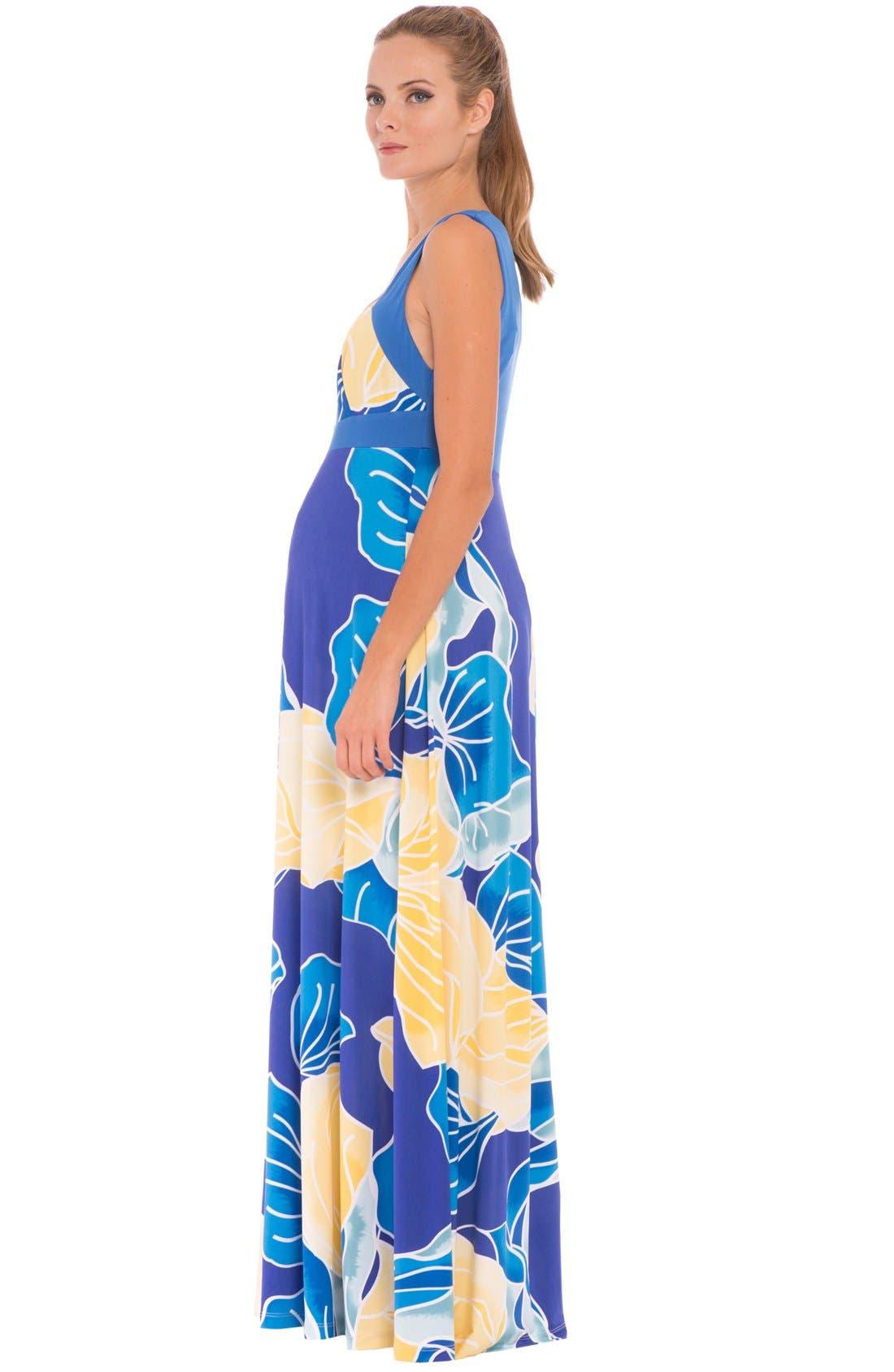 'Sharon' Maternity Maxi Dress,                             Alternate thumbnail 4, color,                             AQUA