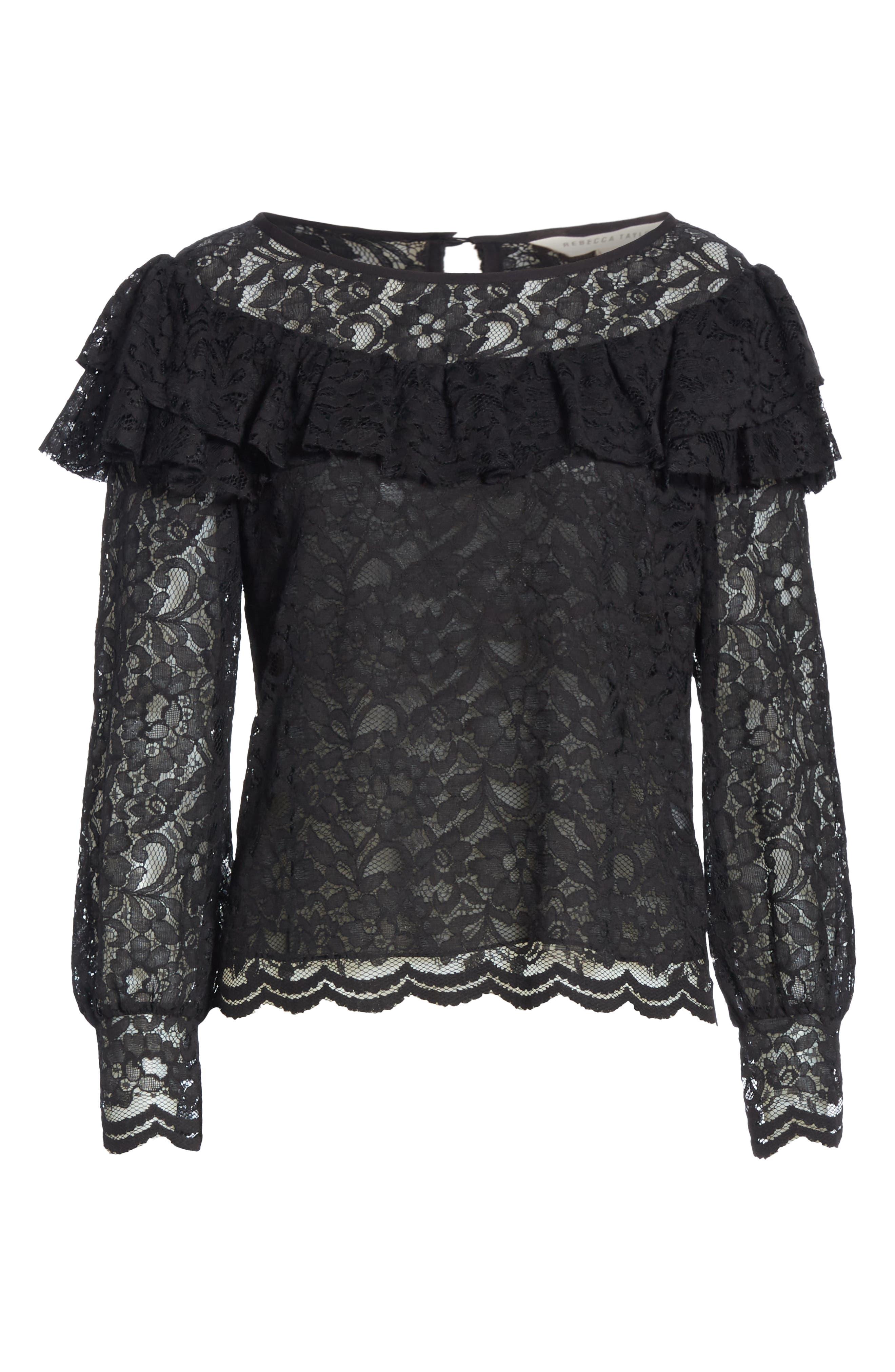 Cotton Blend Lace Ruffle Blouse,                             Alternate thumbnail 6, color,                             001