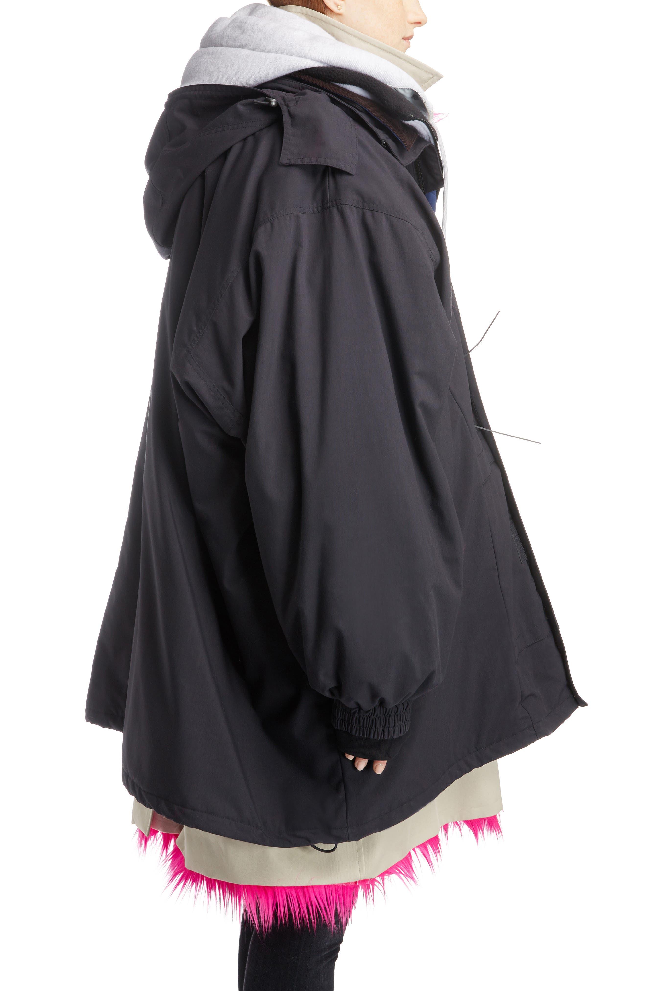 Layered Coat,                             Alternate thumbnail 3, color,                             1000-BLACK