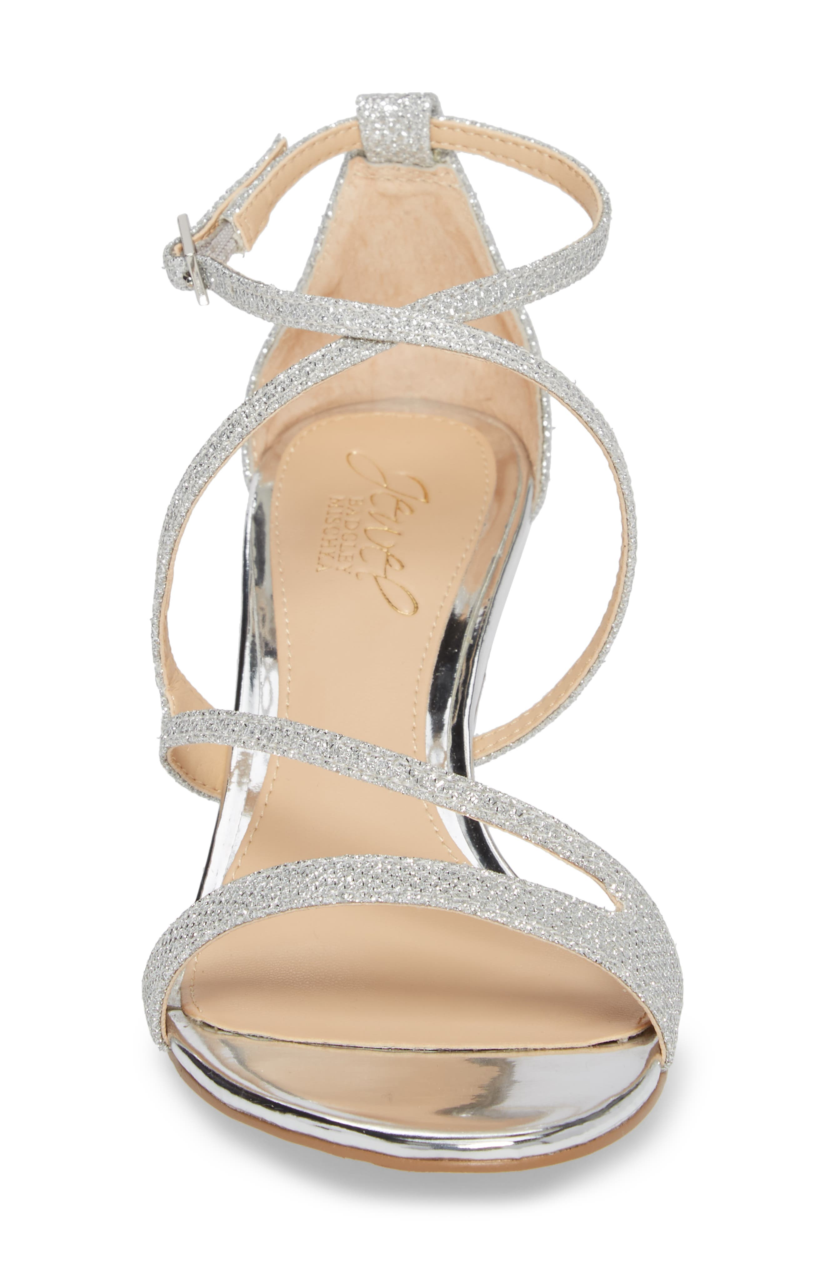 Gal Glitter Kitten Heel Sandal,                             Alternate thumbnail 4, color,                             SILVER GLITTER FABRIC
