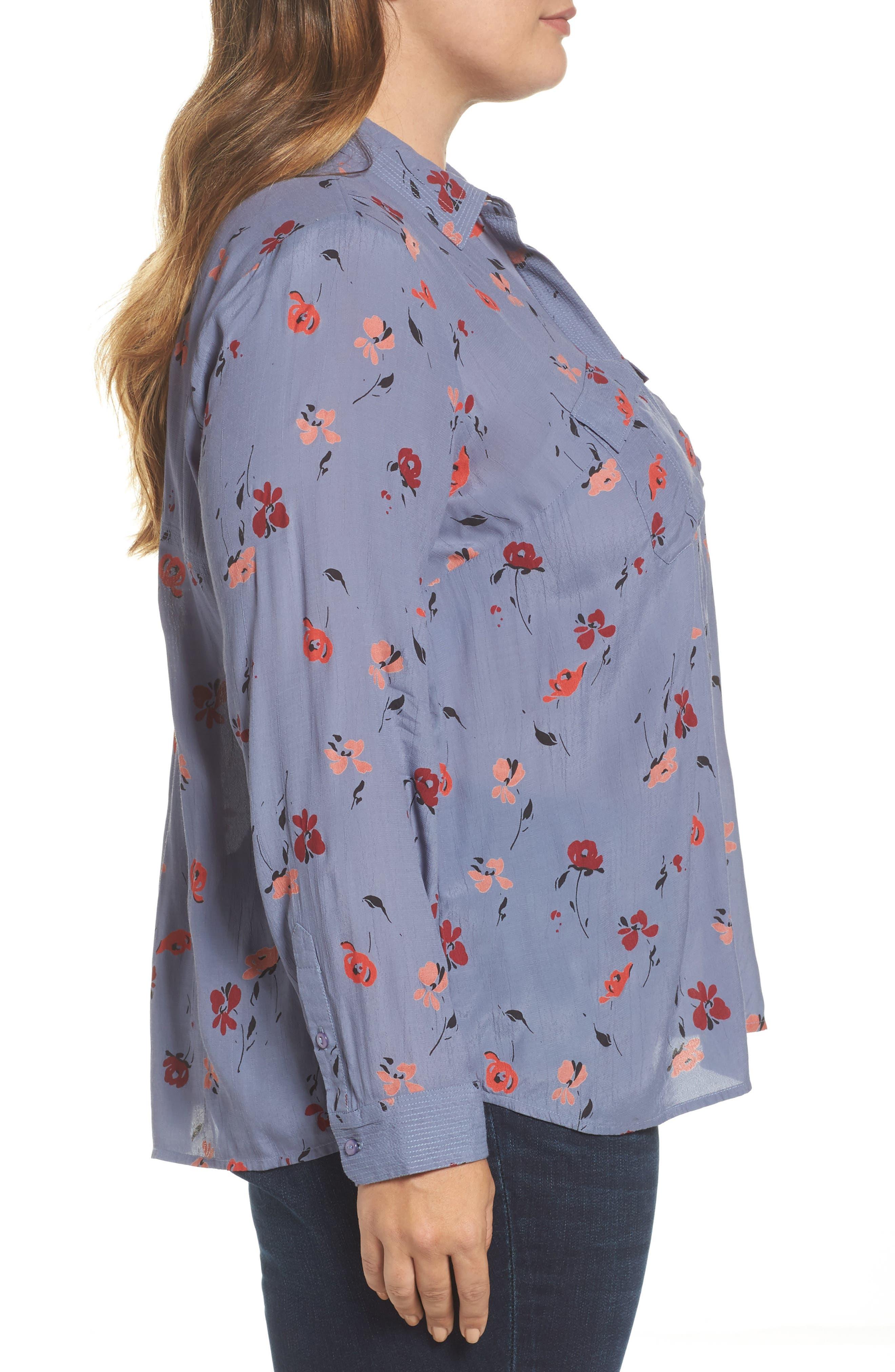 Floral Print Button Down Shirt,                             Alternate thumbnail 3, color,                             020