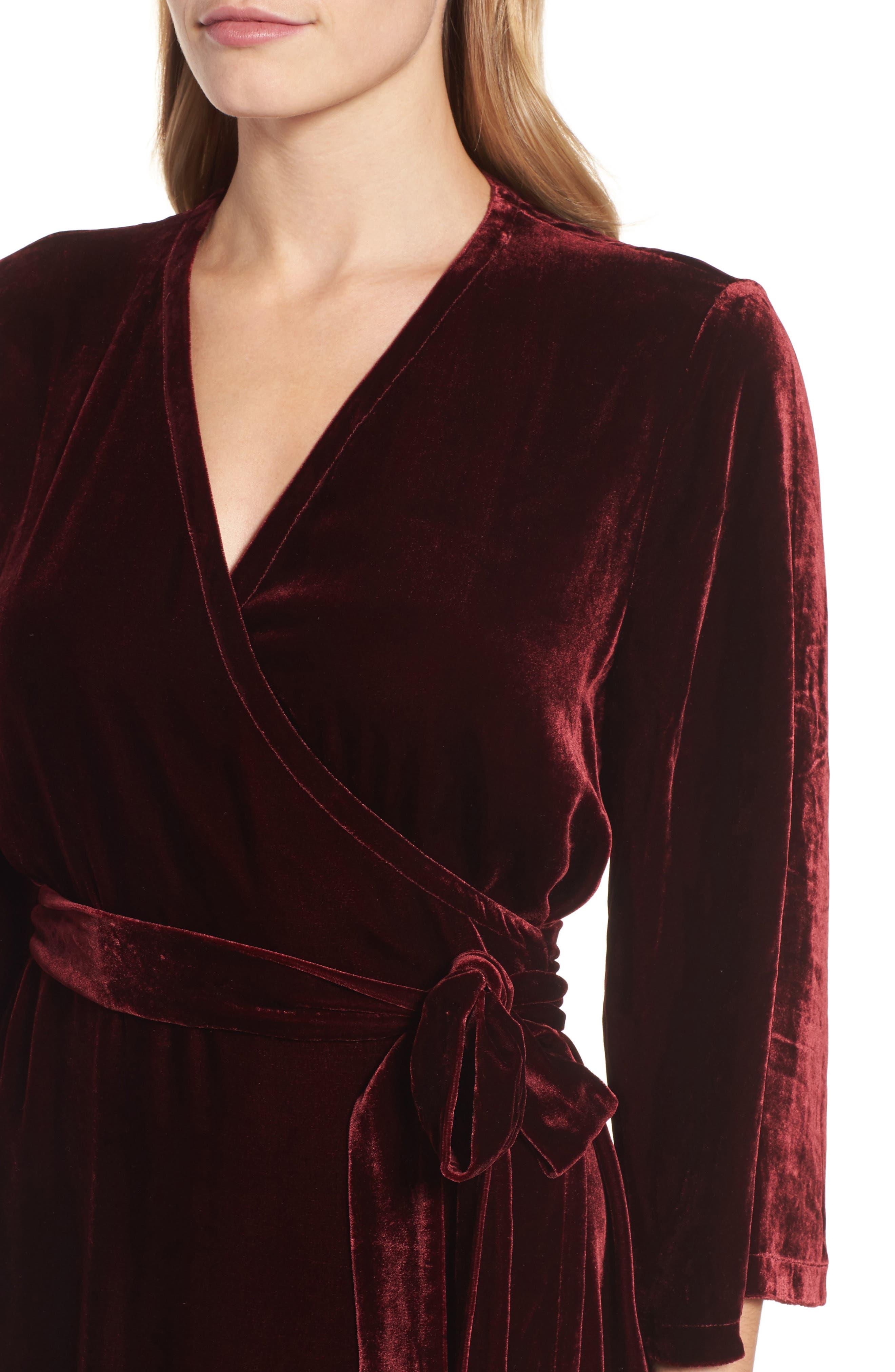 Velvet Wrap Dress,                             Alternate thumbnail 12, color,