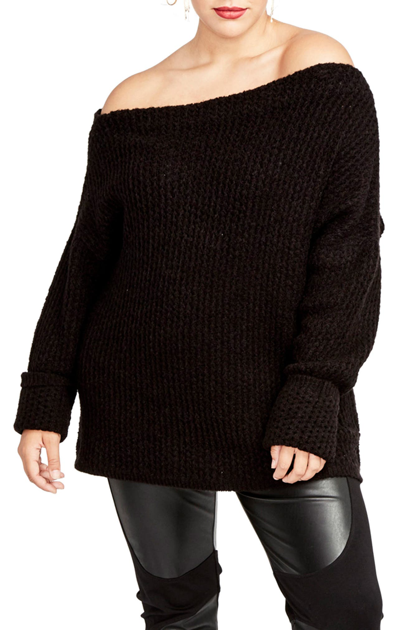 Off the Shoulder Sweater,                             Main thumbnail 1, color,                             001