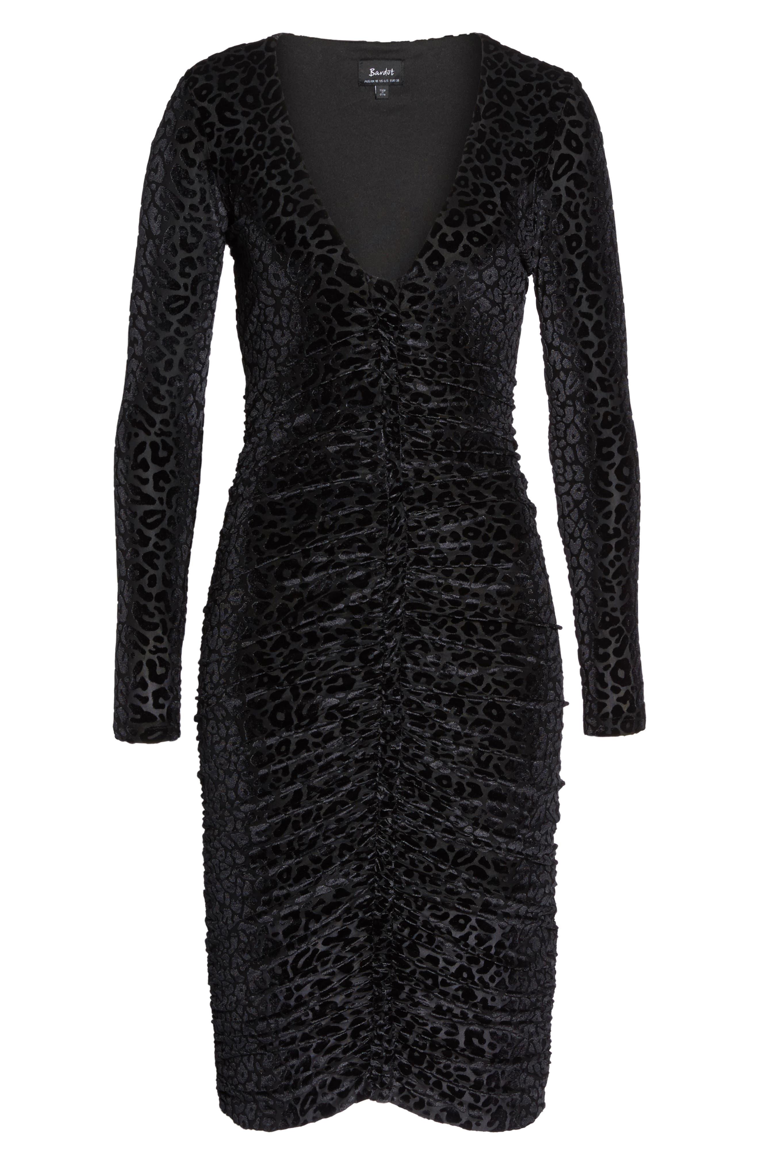 Leopard Velvet Mesh Body-Con Dress,                             Alternate thumbnail 6, color,                             001