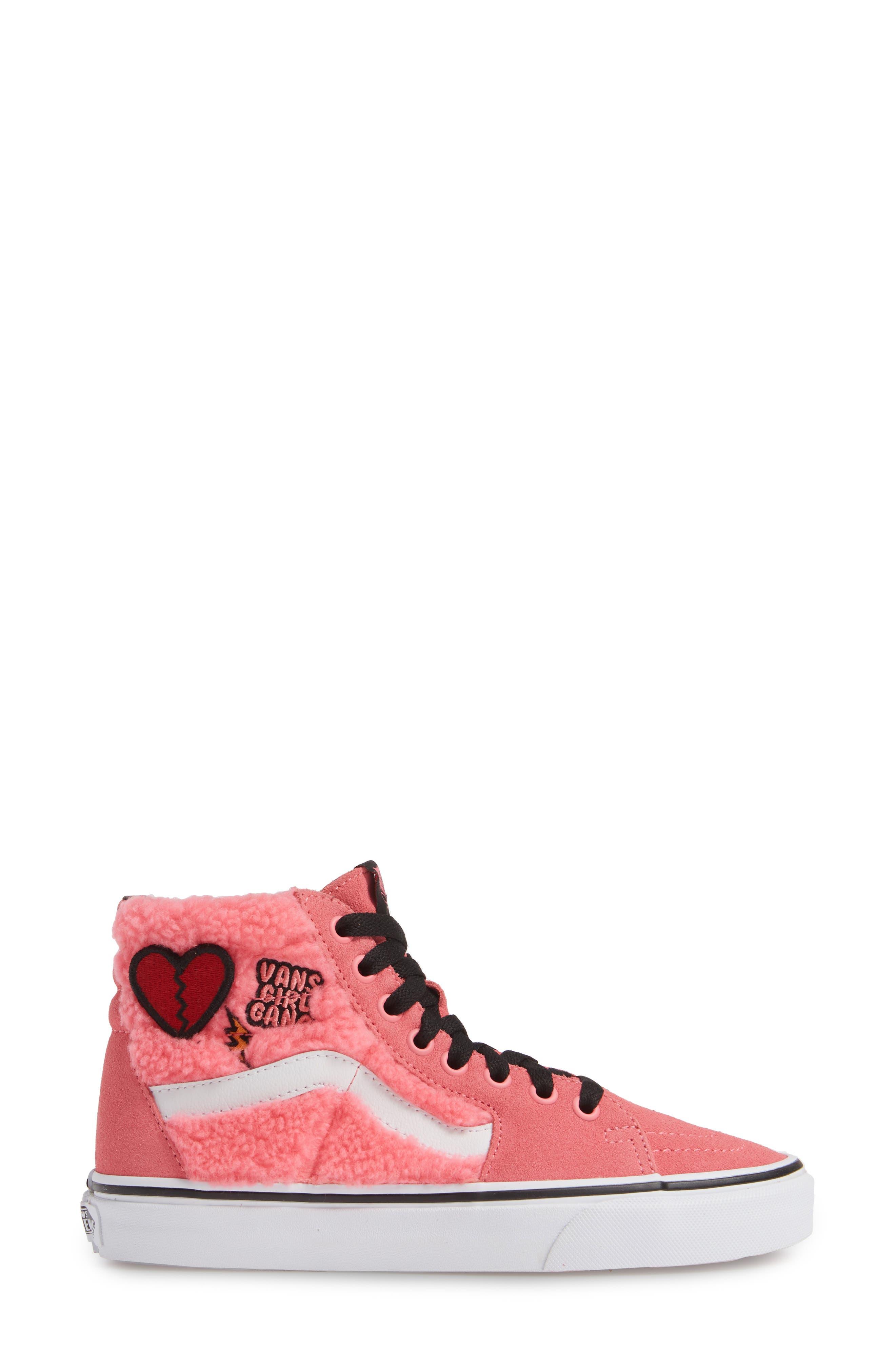 Sk8-Hi Faux Shearling High Top Sneaker,                             Alternate thumbnail 3, color,                             PINK LEMONADE