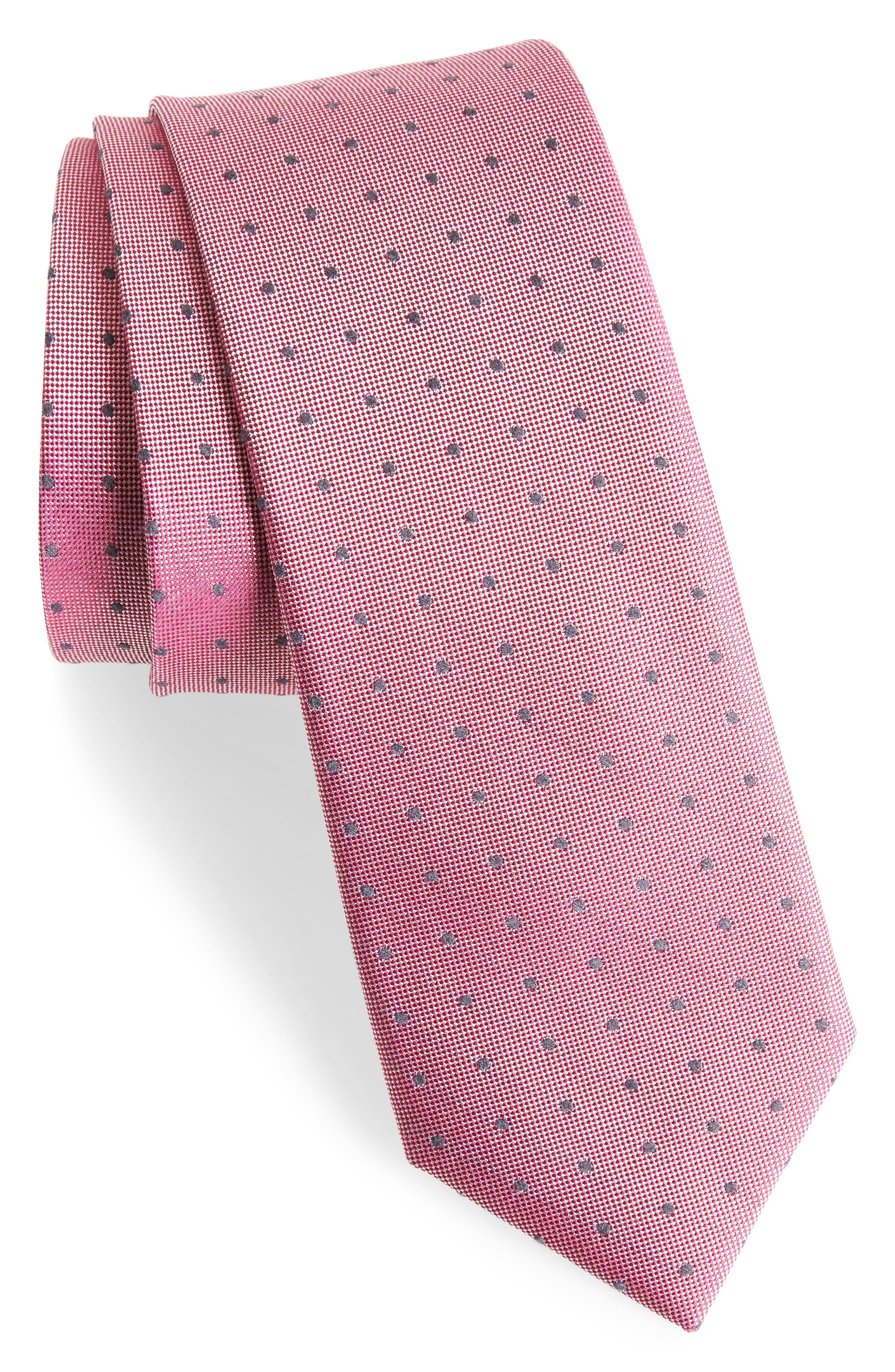 Dot Silk Blend Skinny Tie,                             Main thumbnail 6, color,
