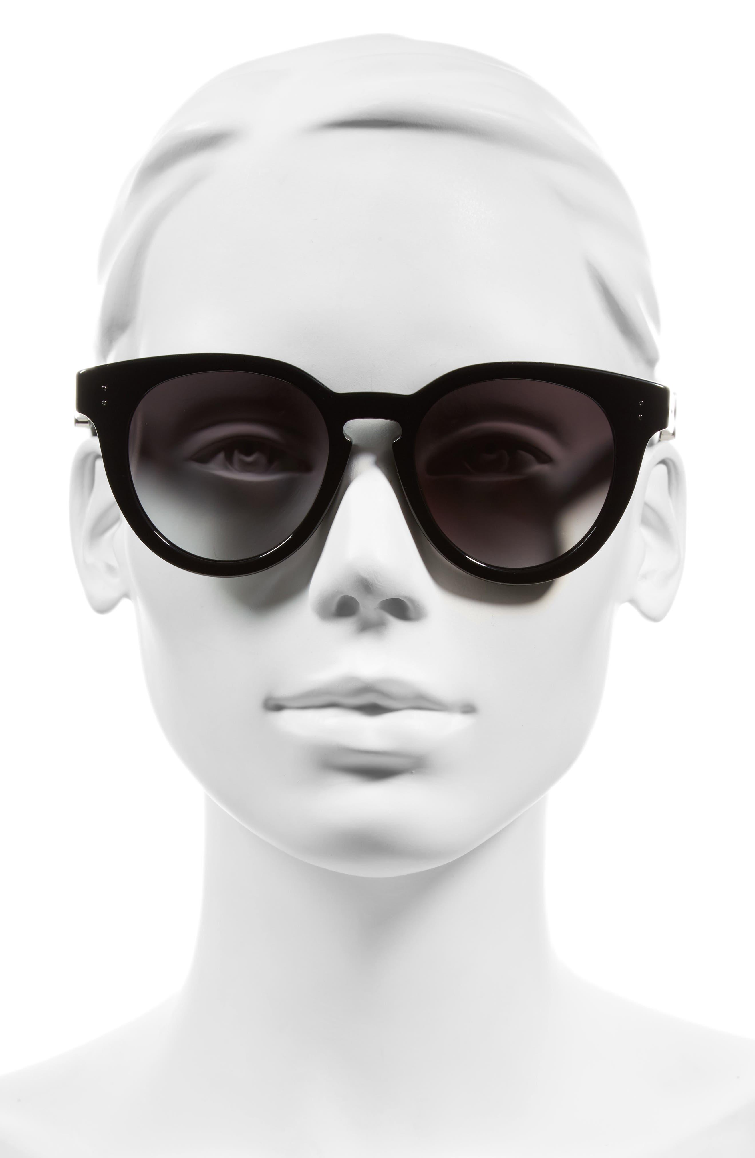 50mm Round Sunglasses,                             Alternate thumbnail 3, color,                             001