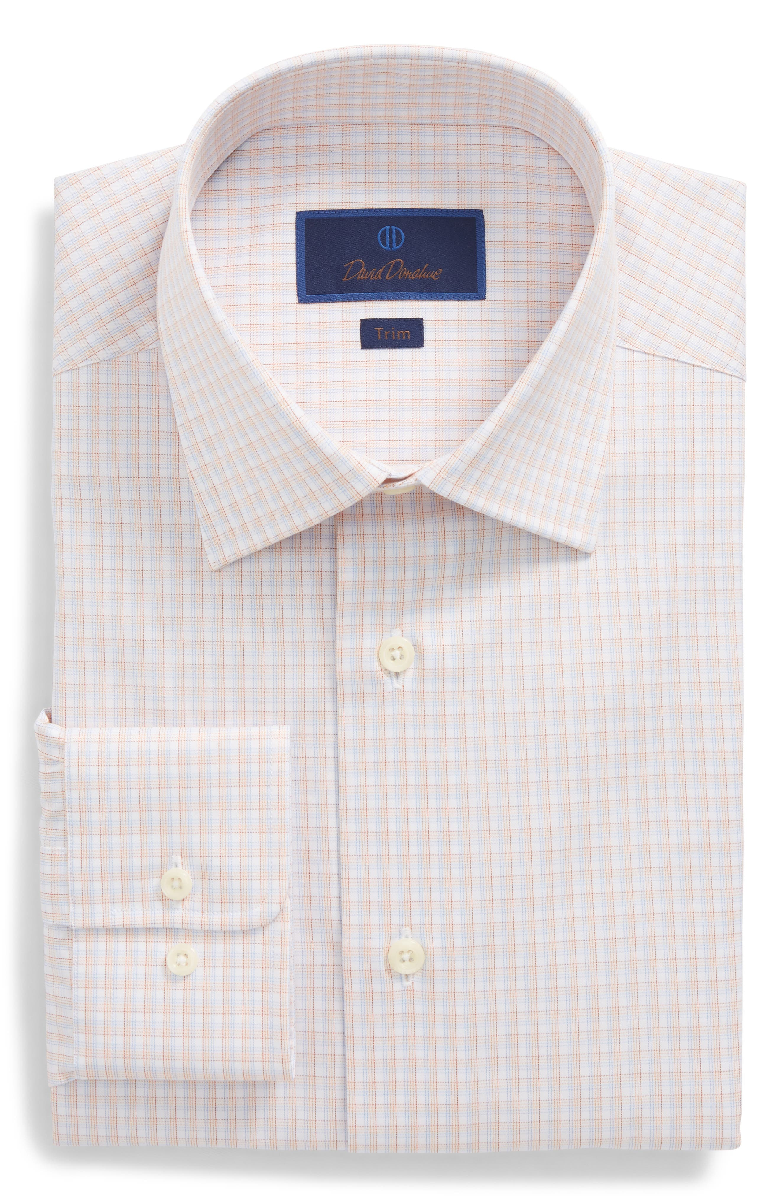 Trim Fit Check Dress Shirt,                             Main thumbnail 4, color,