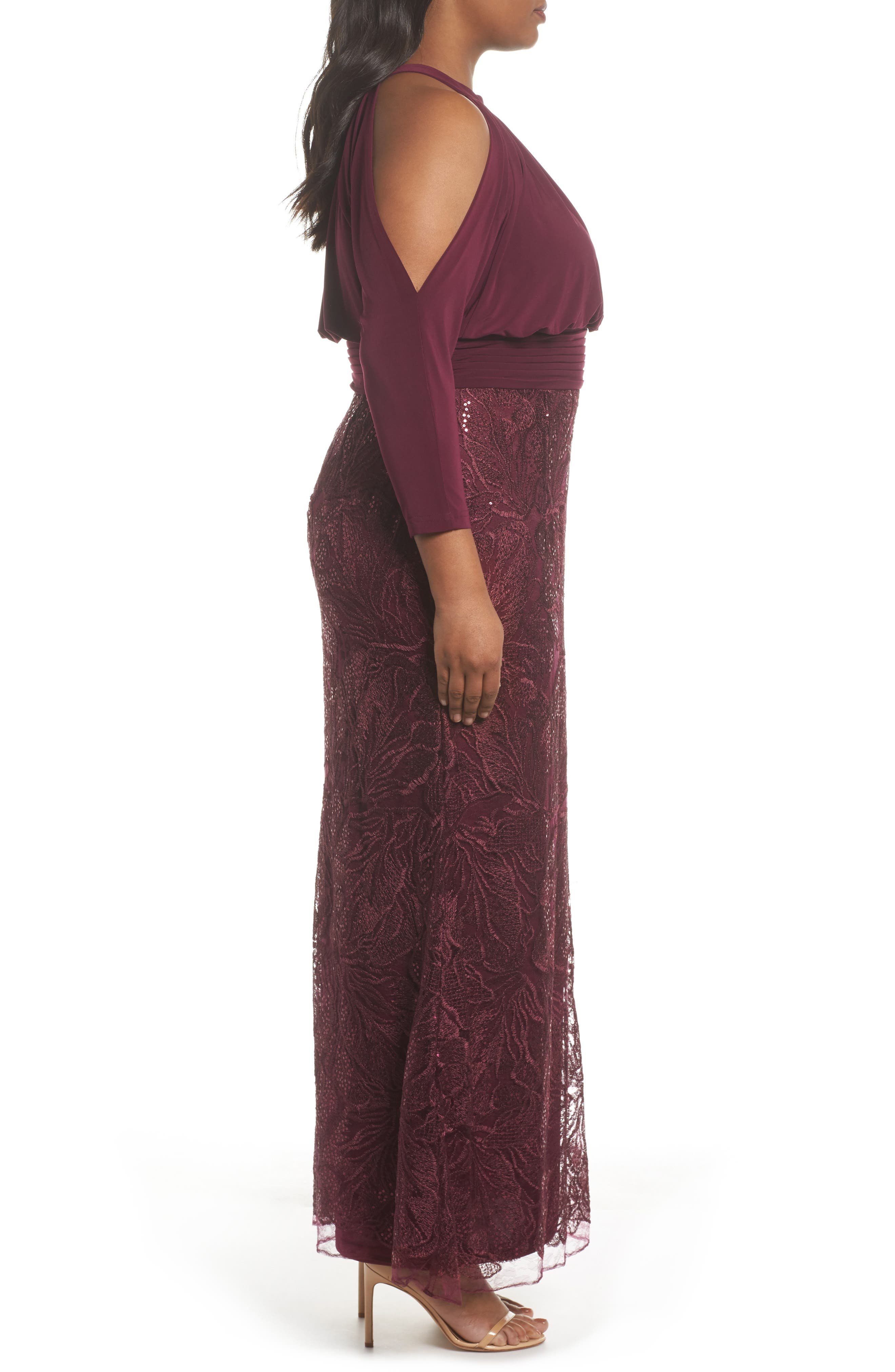 Stretch Jersey & Sequin Lace Gown,                             Alternate thumbnail 3, color,                             505