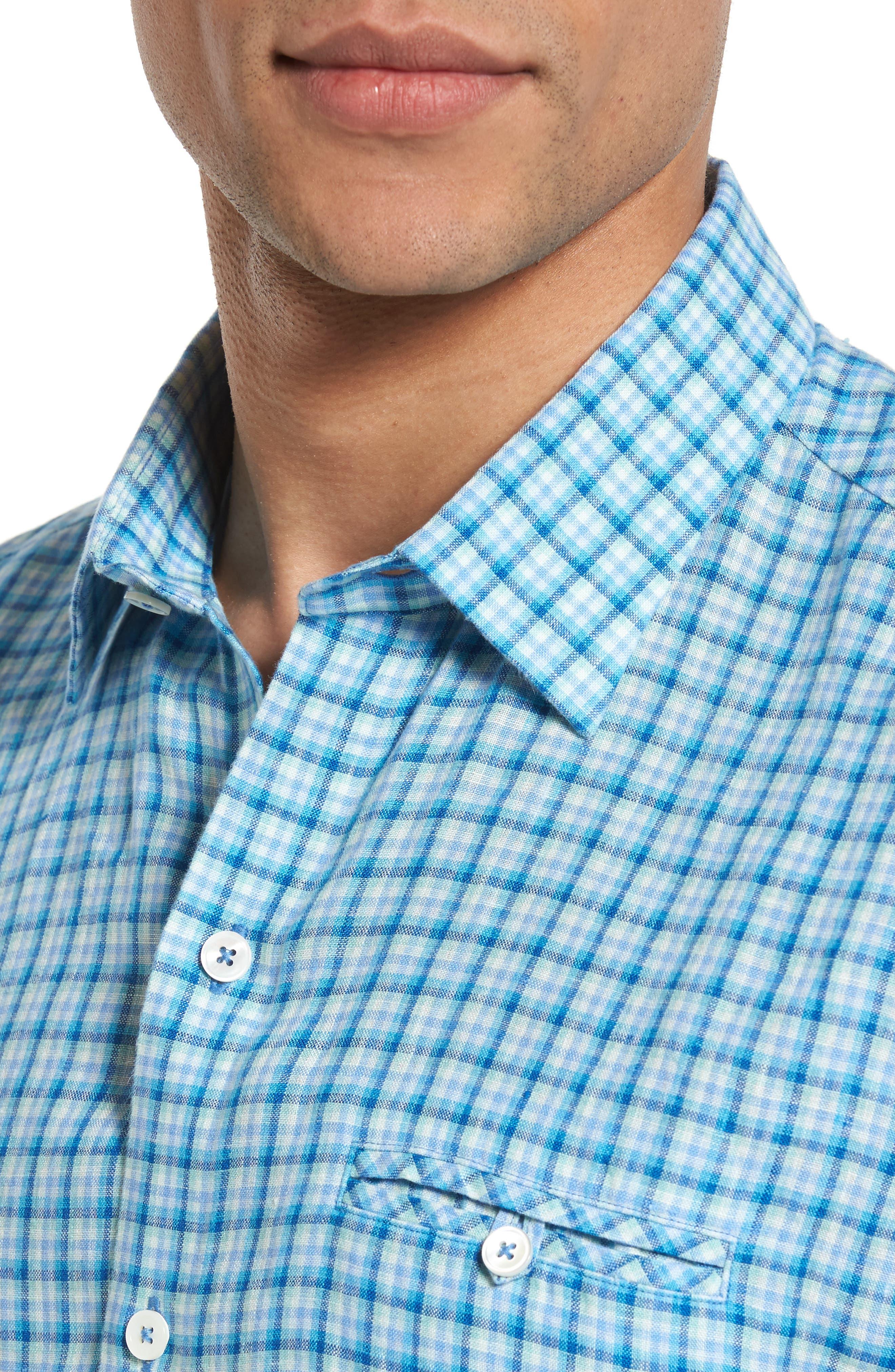 Althoff Plaid Linen Sport Shirt,                             Alternate thumbnail 7, color,