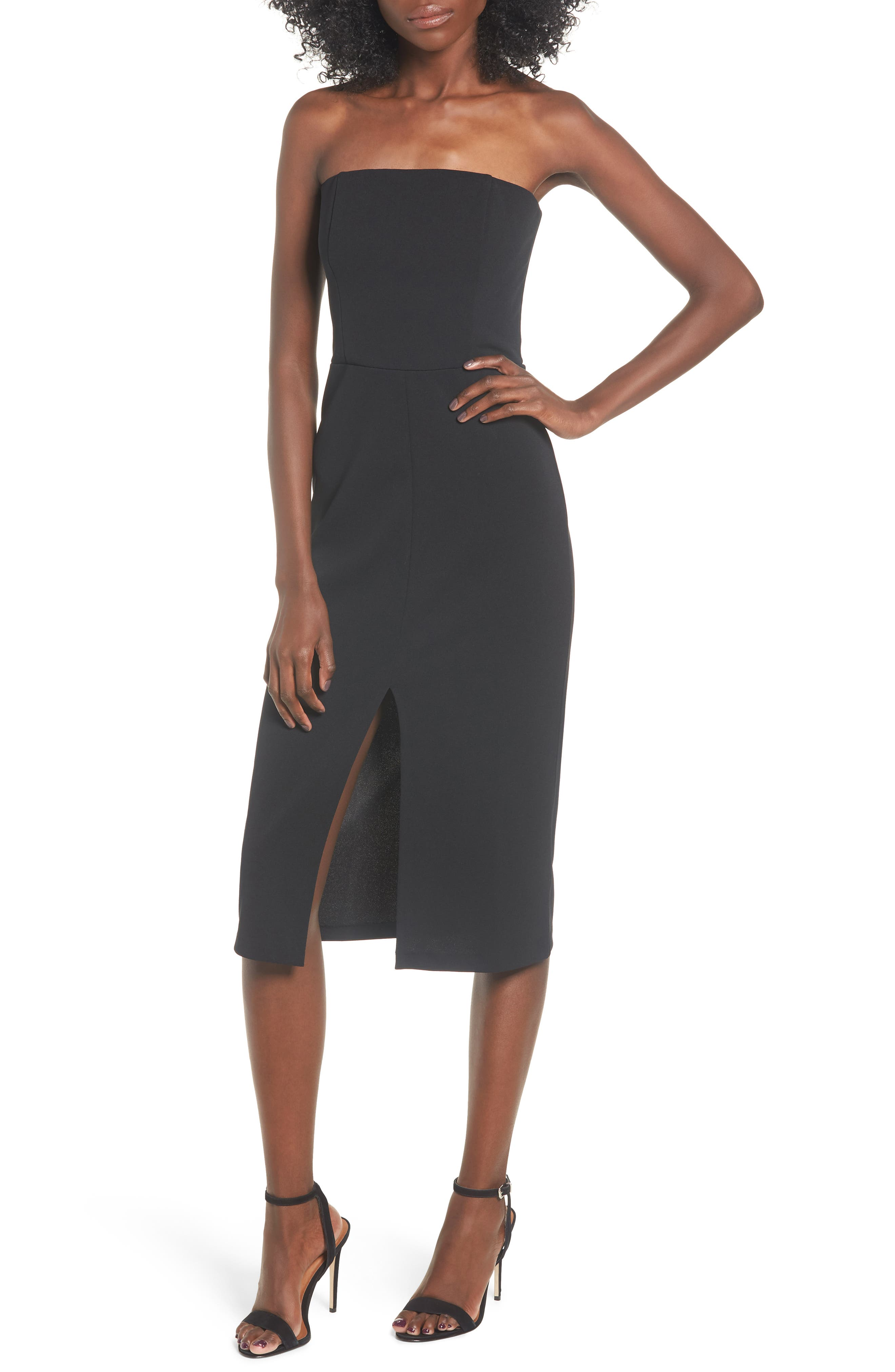 Leith Strapless Midi Dress, Black