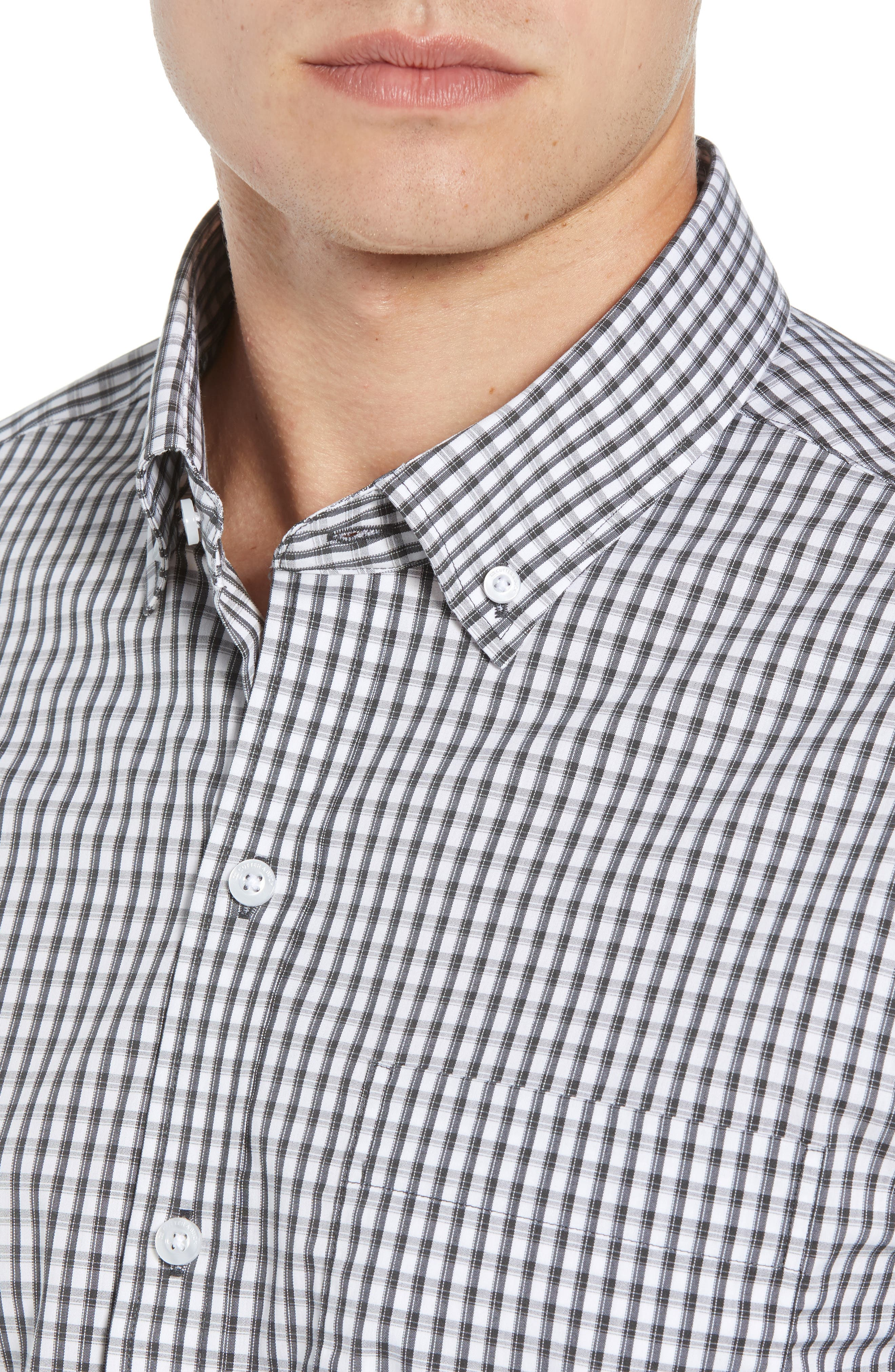 Regular Fit Gingham Non-Iron Sport Shirt,                             Alternate thumbnail 2, color,                             CHARCOAL