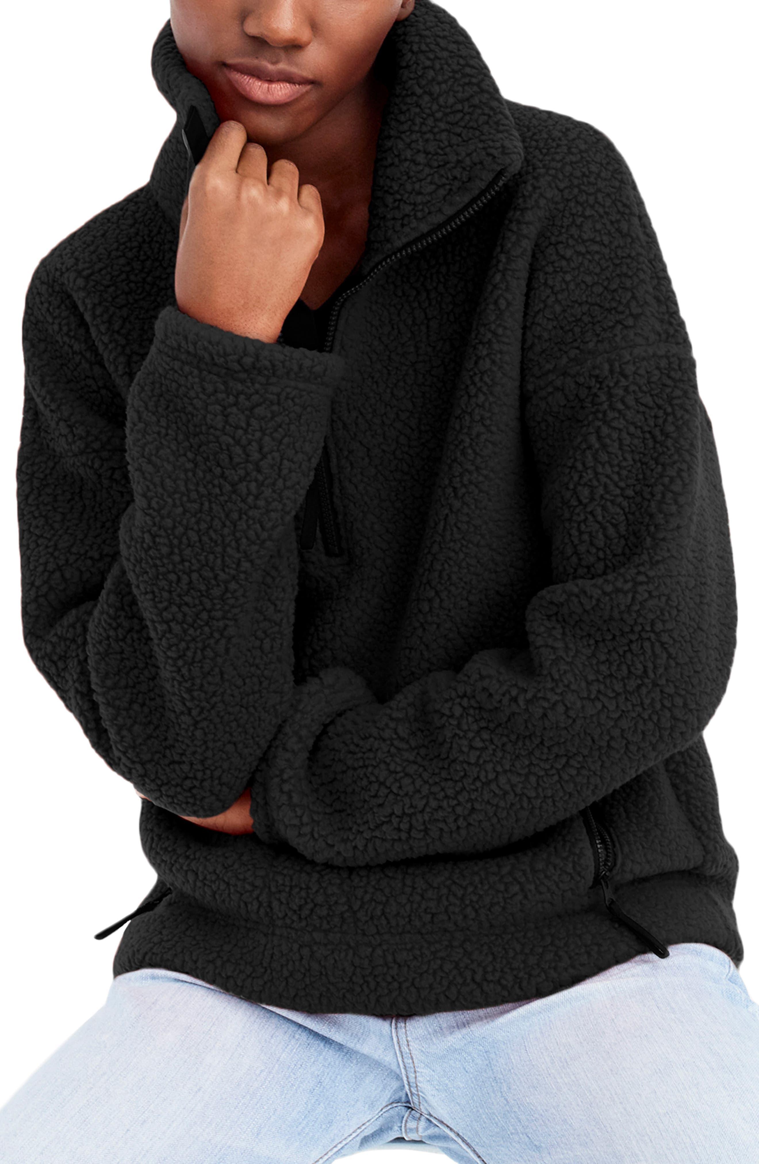 J.crew Polartec Fleece Half-Zip Pullover Jacket, Black