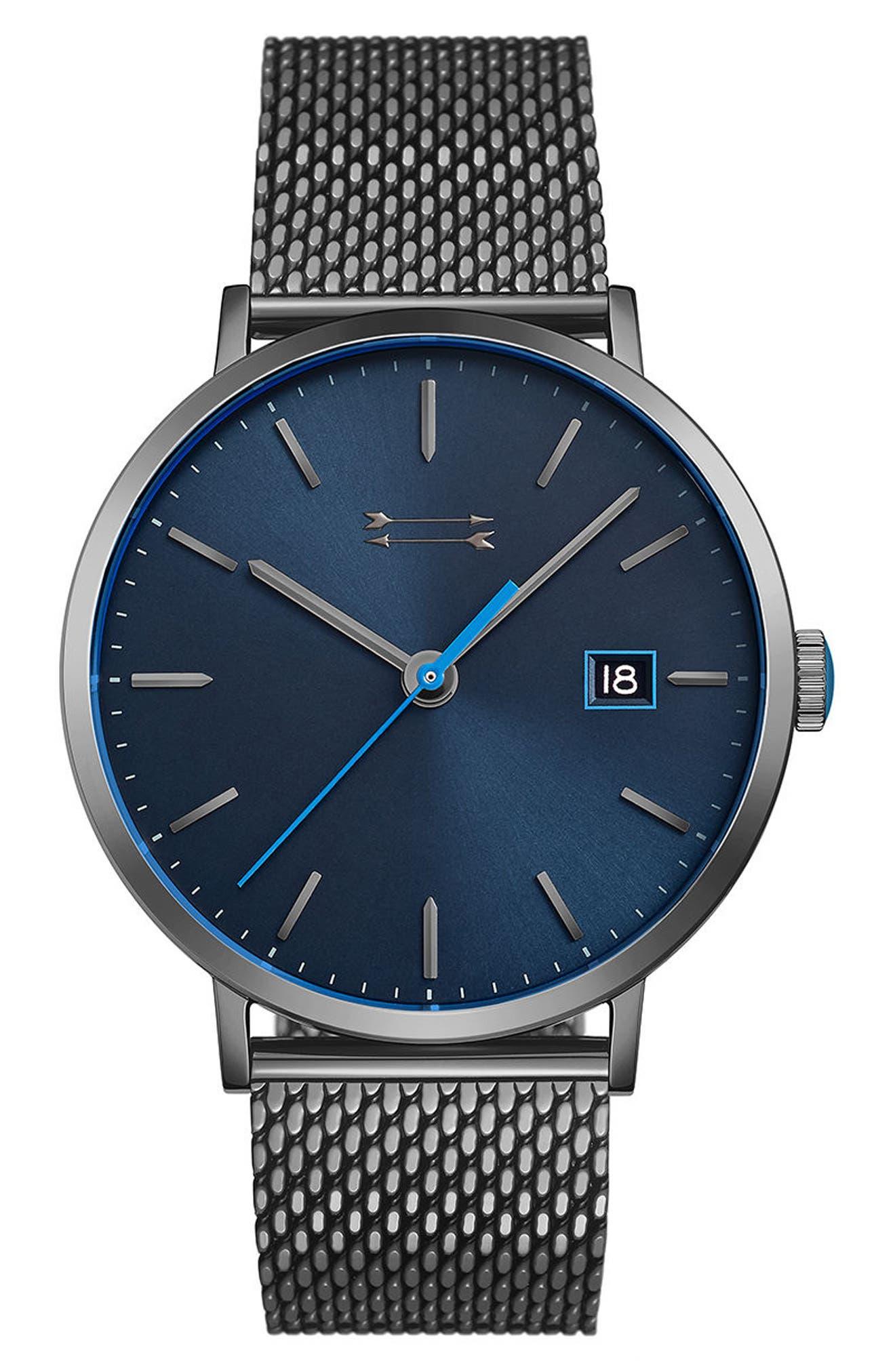Norrebro Mesh Bracelet Watch, 40mm,                             Main thumbnail 1, color,                             GREY/ BLUE/ GREY