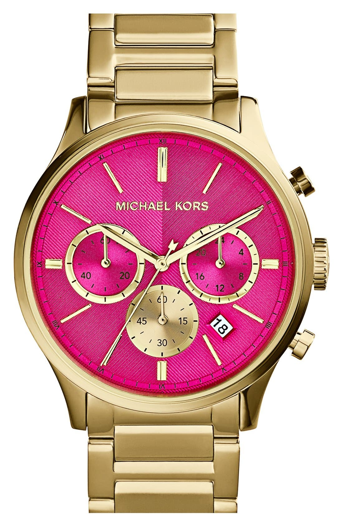 MICHAEL MICHAEL KORS,                             Michael Kors 'Bailey' Chronograph Bracelet Watch, 44mm,                             Main thumbnail 1, color,                             710