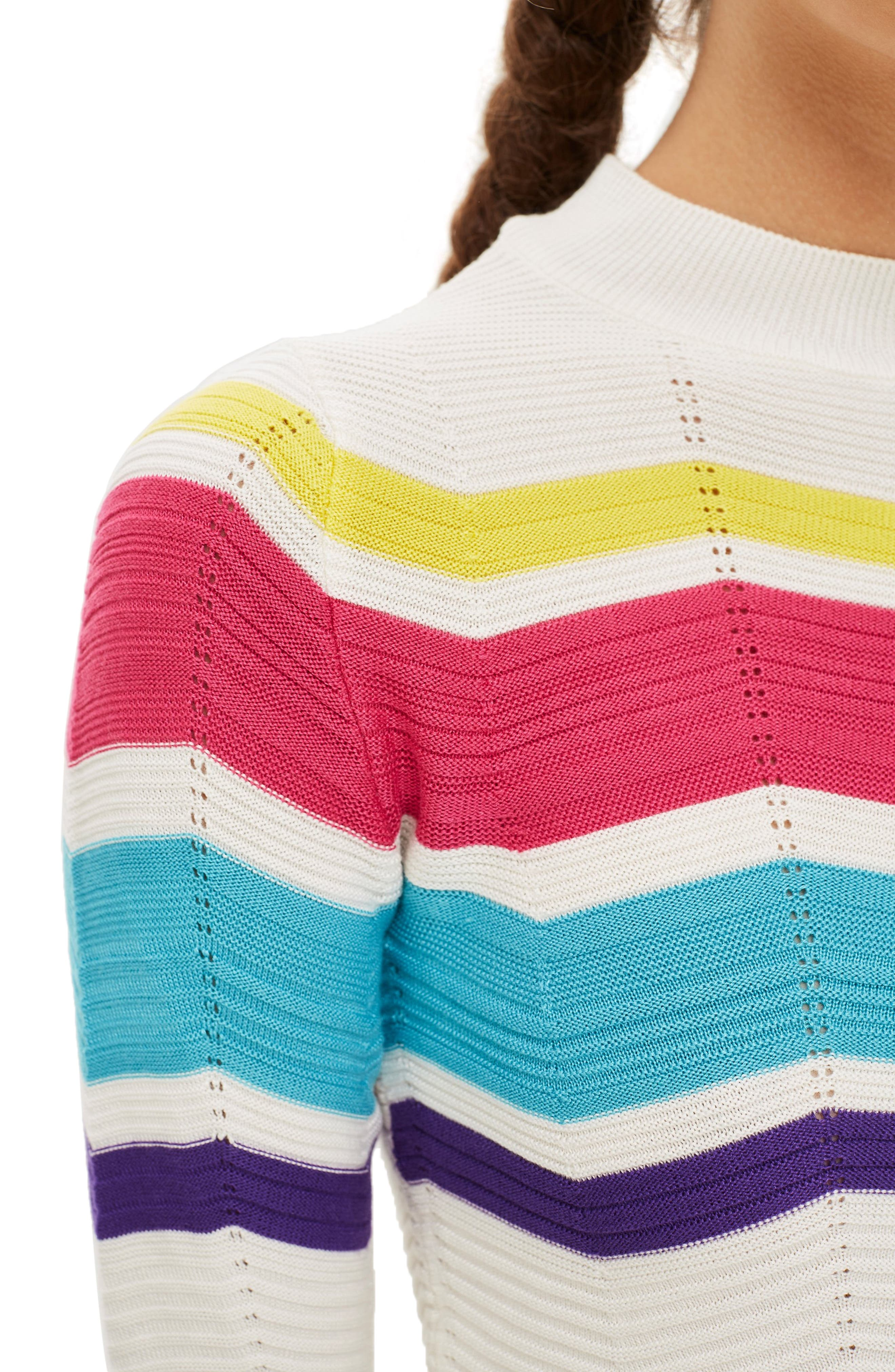 Chevron Stripe Crop Sweater,                             Alternate thumbnail 4, color,                             900
