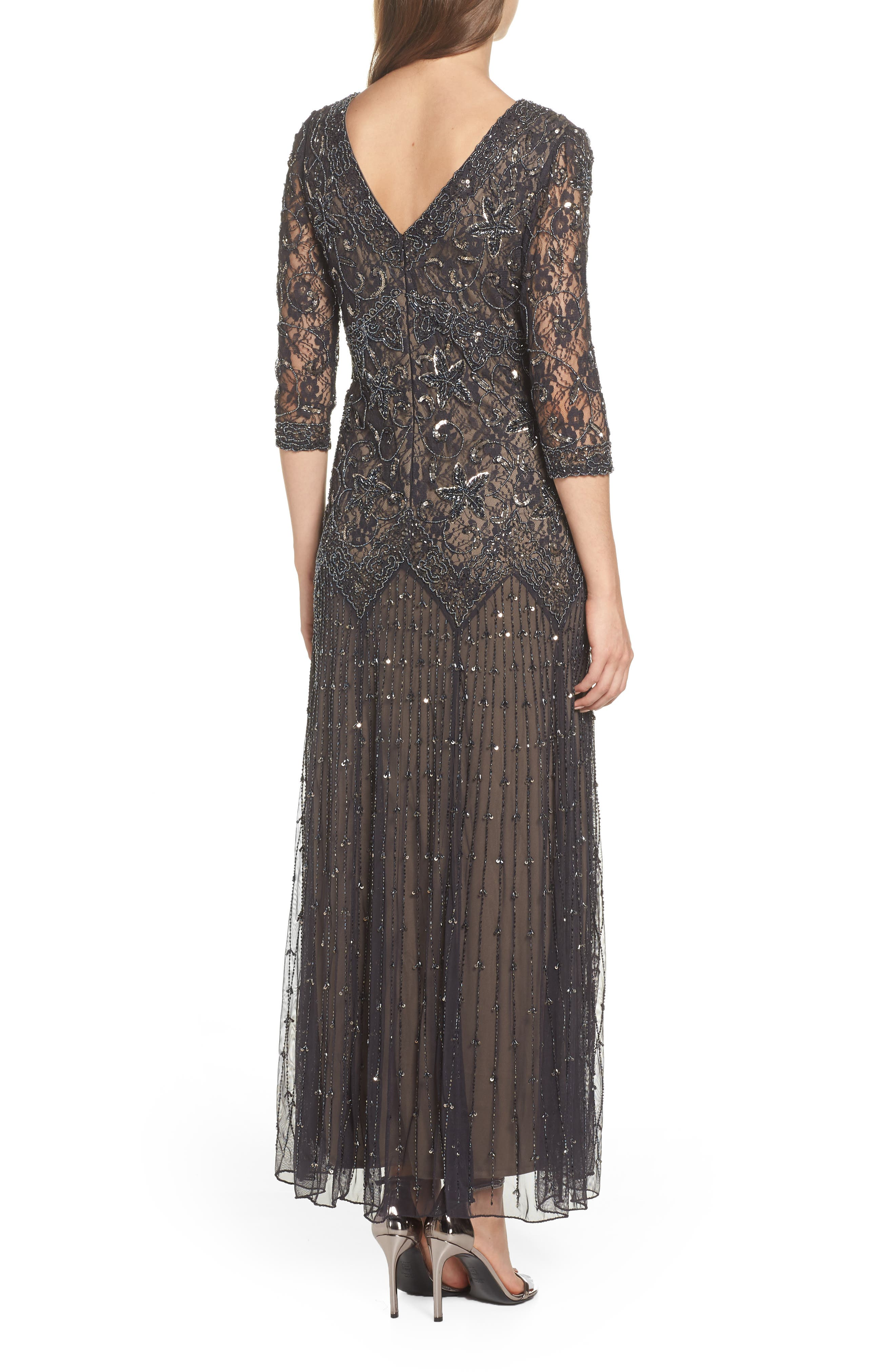 Beaded Mesh Gown,                             Alternate thumbnail 2, color,                             CHARCOAL