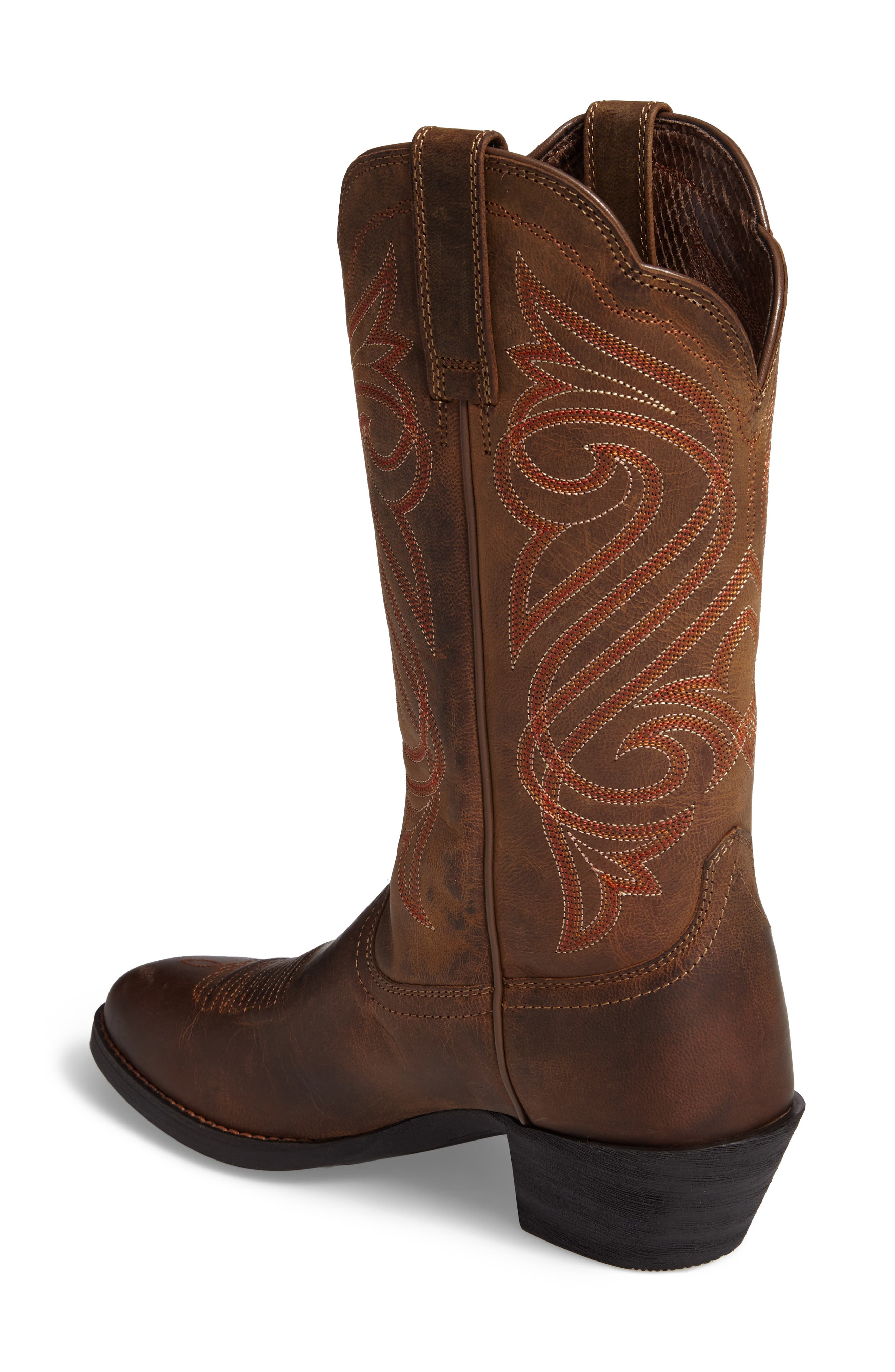 Round Up R-Toe Western Boot,                             Alternate thumbnail 2, color,                             DARK TOFFEE LEATHER