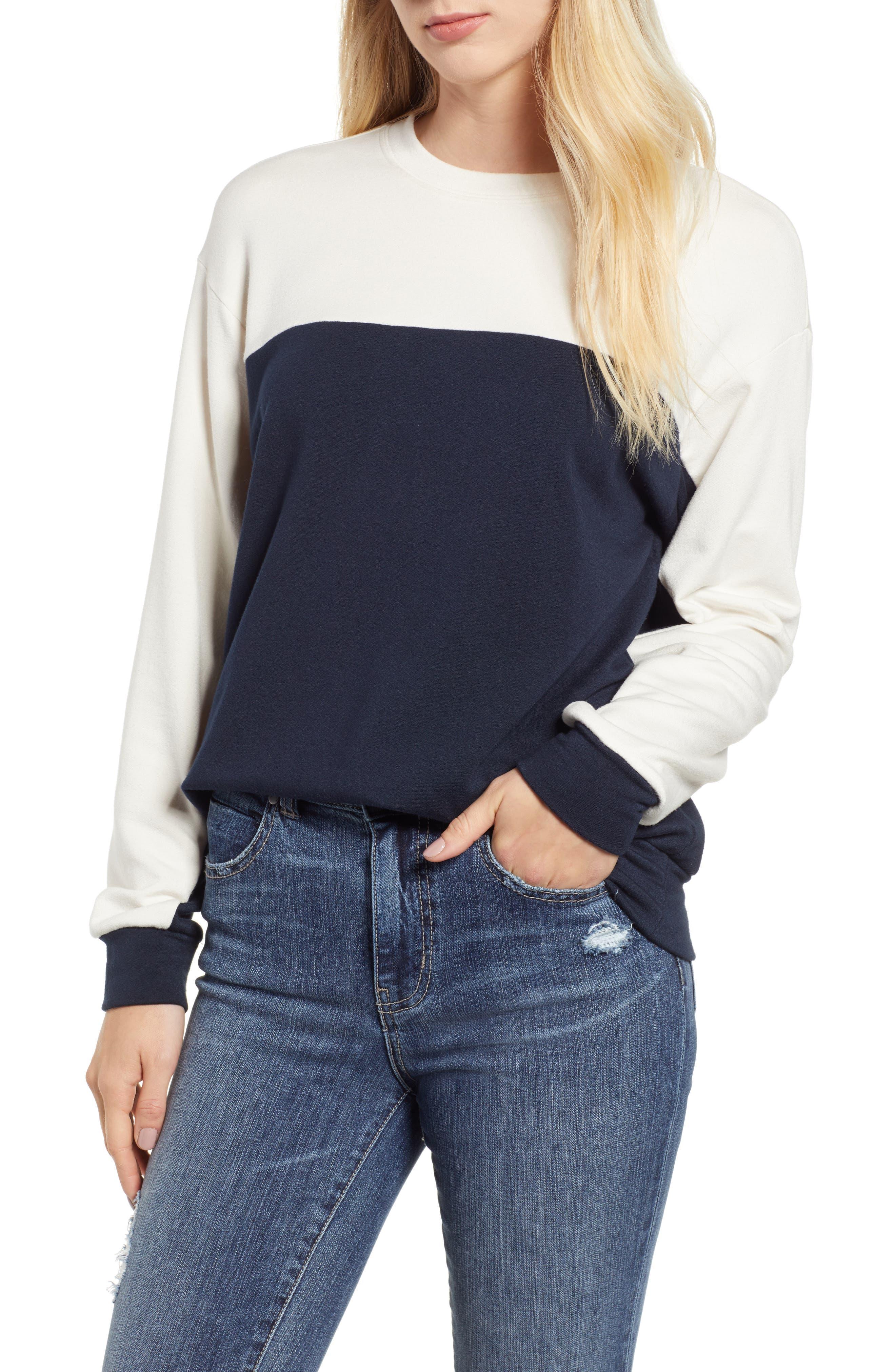 Velvet By Graham & Spencer Colorblock Sweatshirt, Blue
