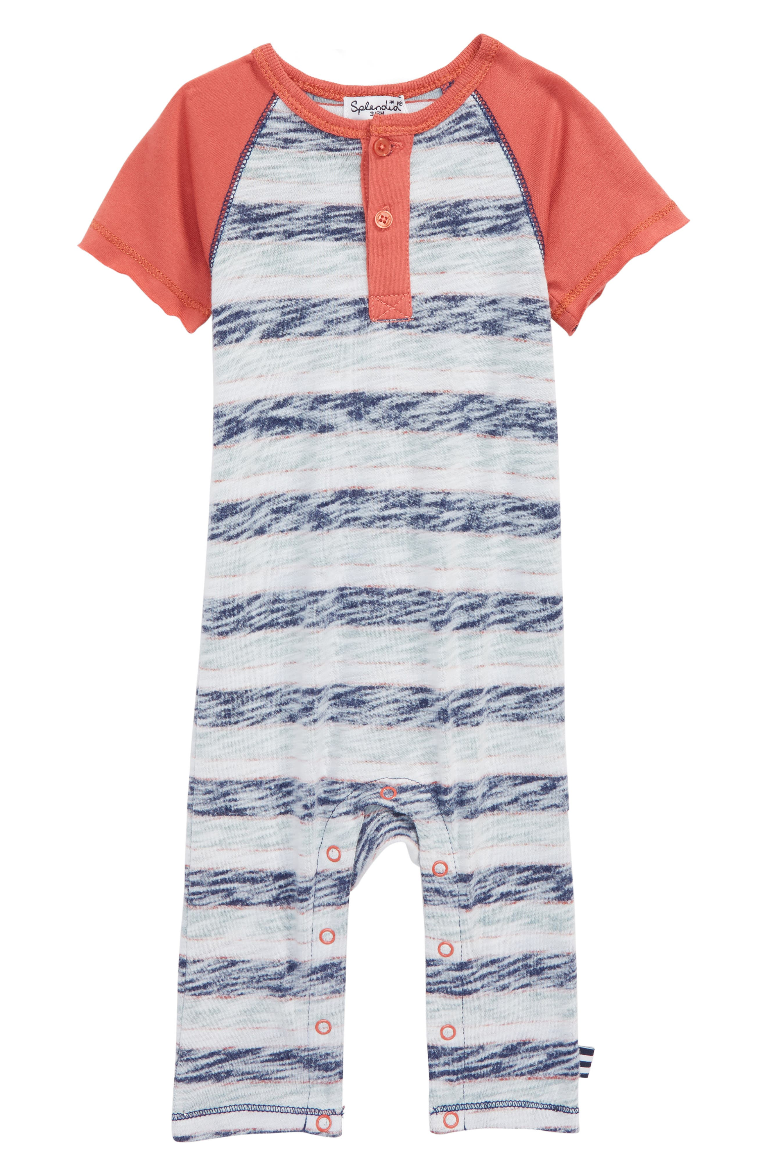 Reverse Stripe Romper,                             Main thumbnail 1, color,                             MINERAL RED