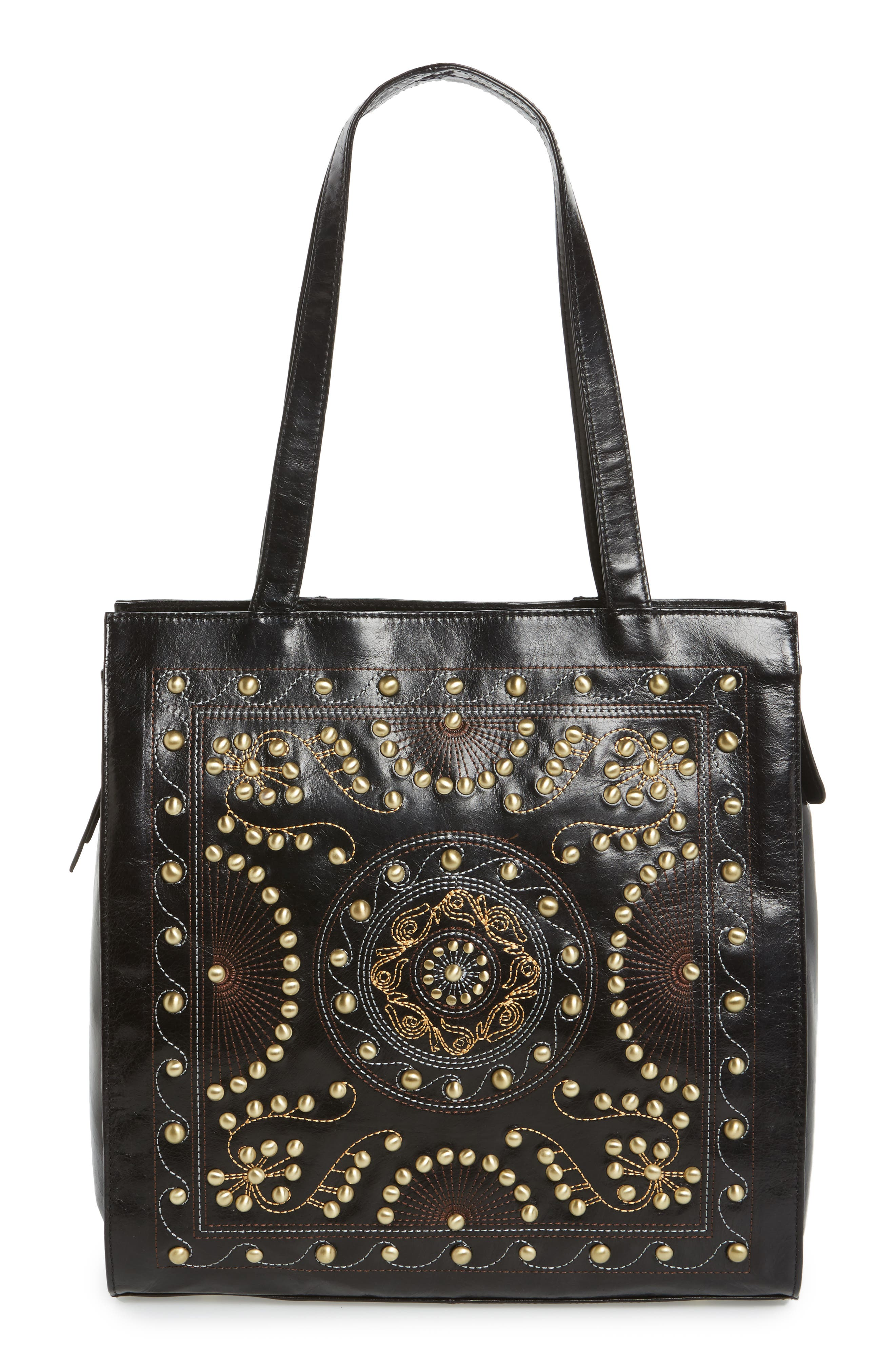 Avalon Studded Calfskin Leather Tote,                             Main thumbnail 2, color,