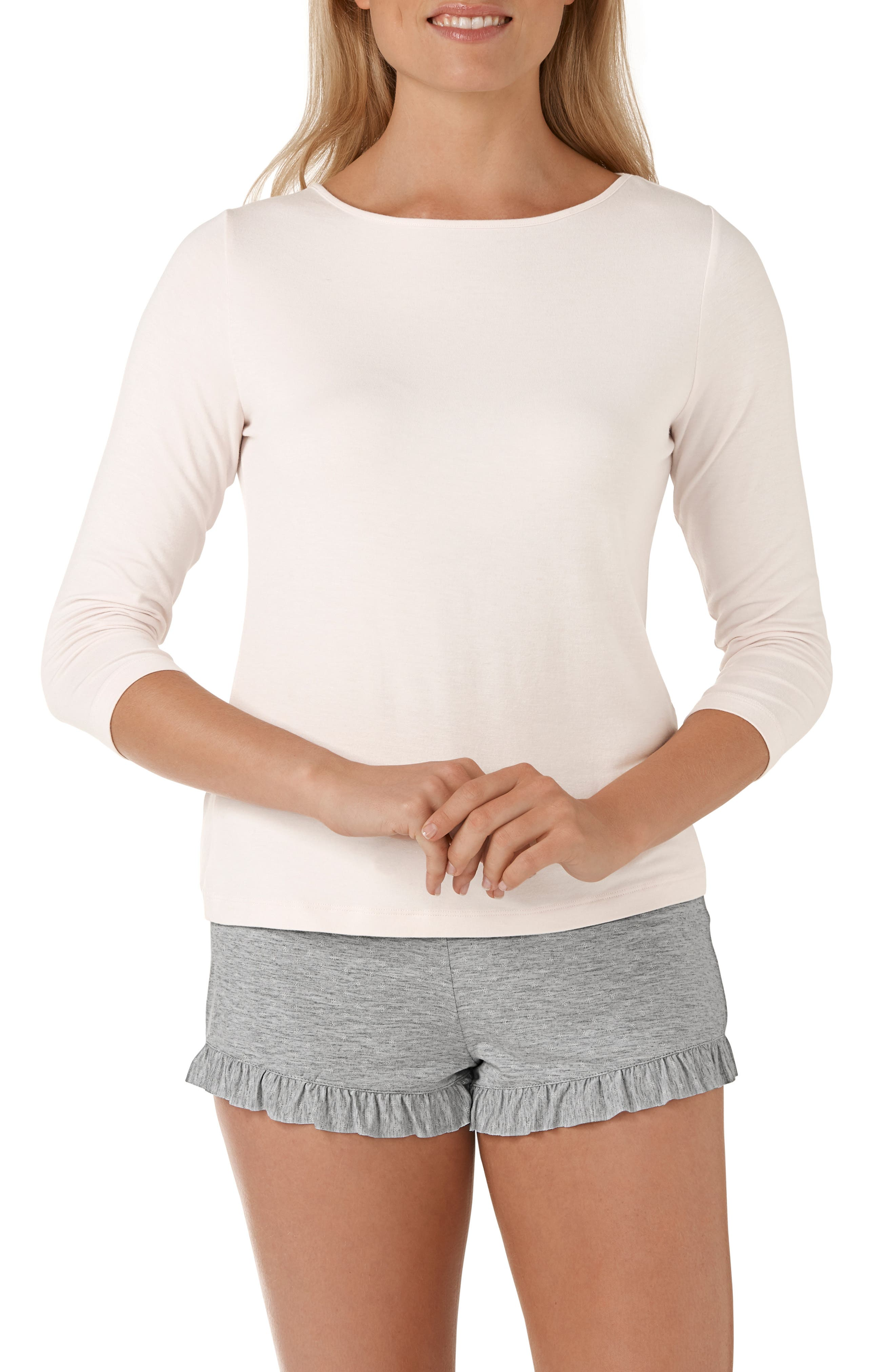 Foulard Star Two Piece Pajamas,                         Main,                         color, PINK/ GREY / WHITE