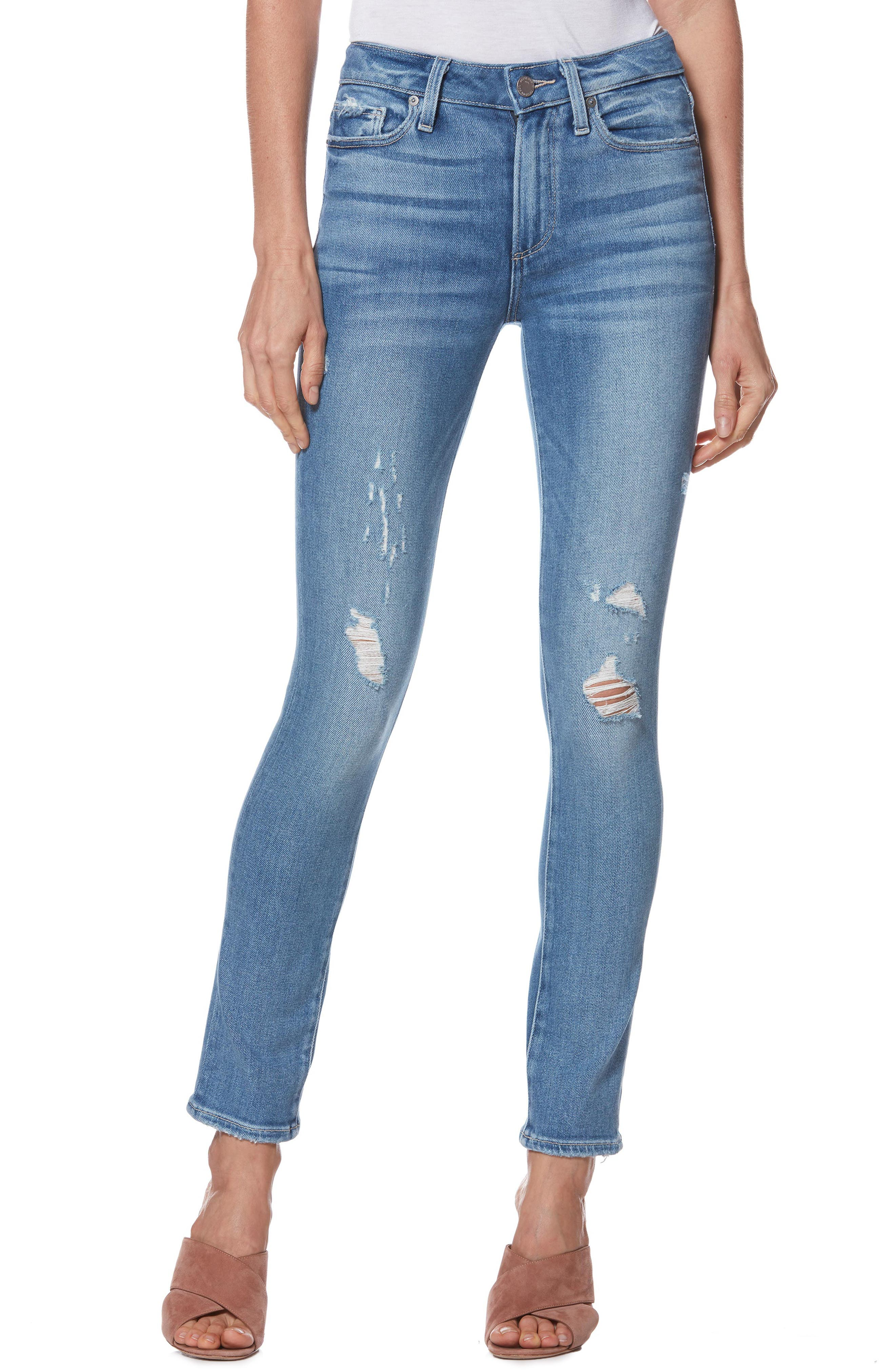 Hoxton High Waist Ankle Peg Jeans,                             Main thumbnail 1, color,                             KAYSON DISTRESSED