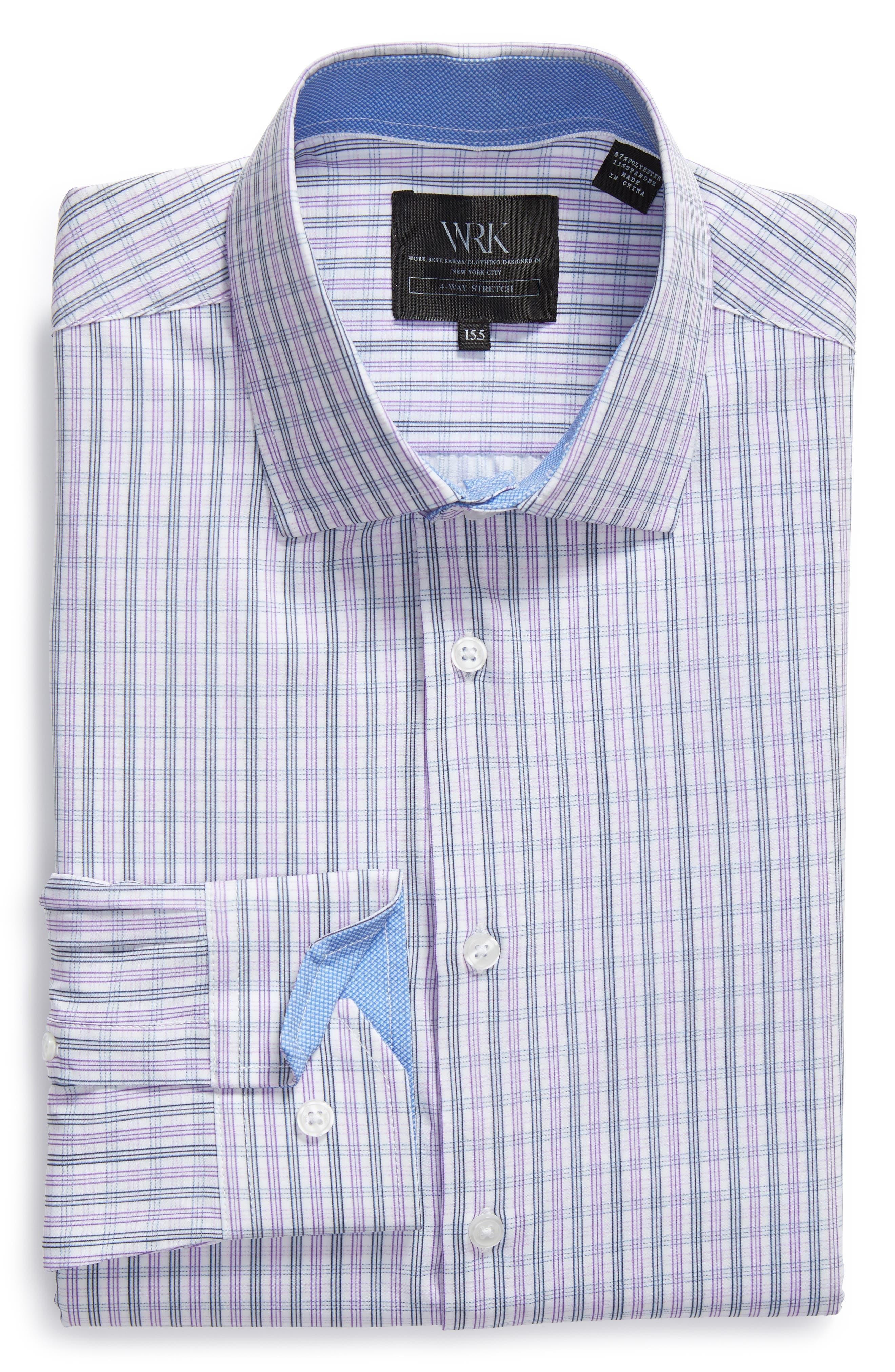 Trim Fit Check 4-Way Stretch Dress Shirt,                             Alternate thumbnail 5, color,                             PURPLE