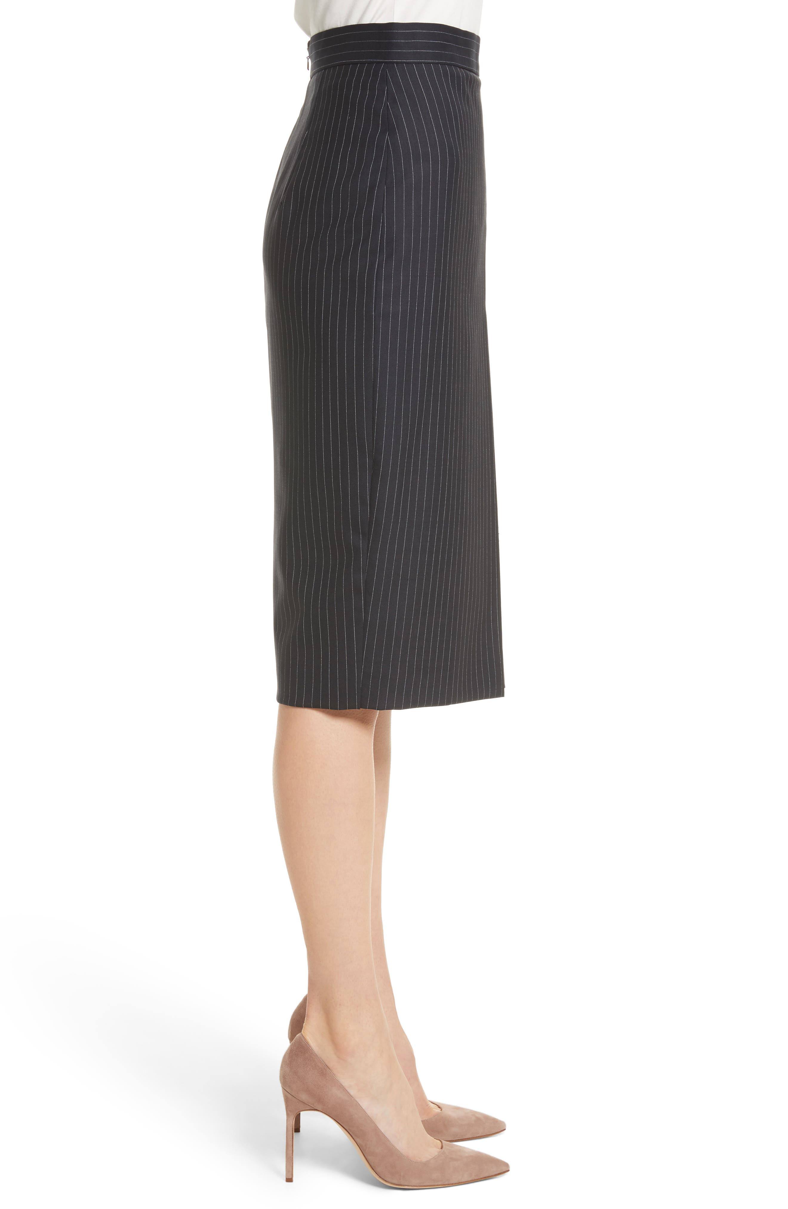 Abba Pinstripe Pencil Skirt,                             Alternate thumbnail 3, color,                             411