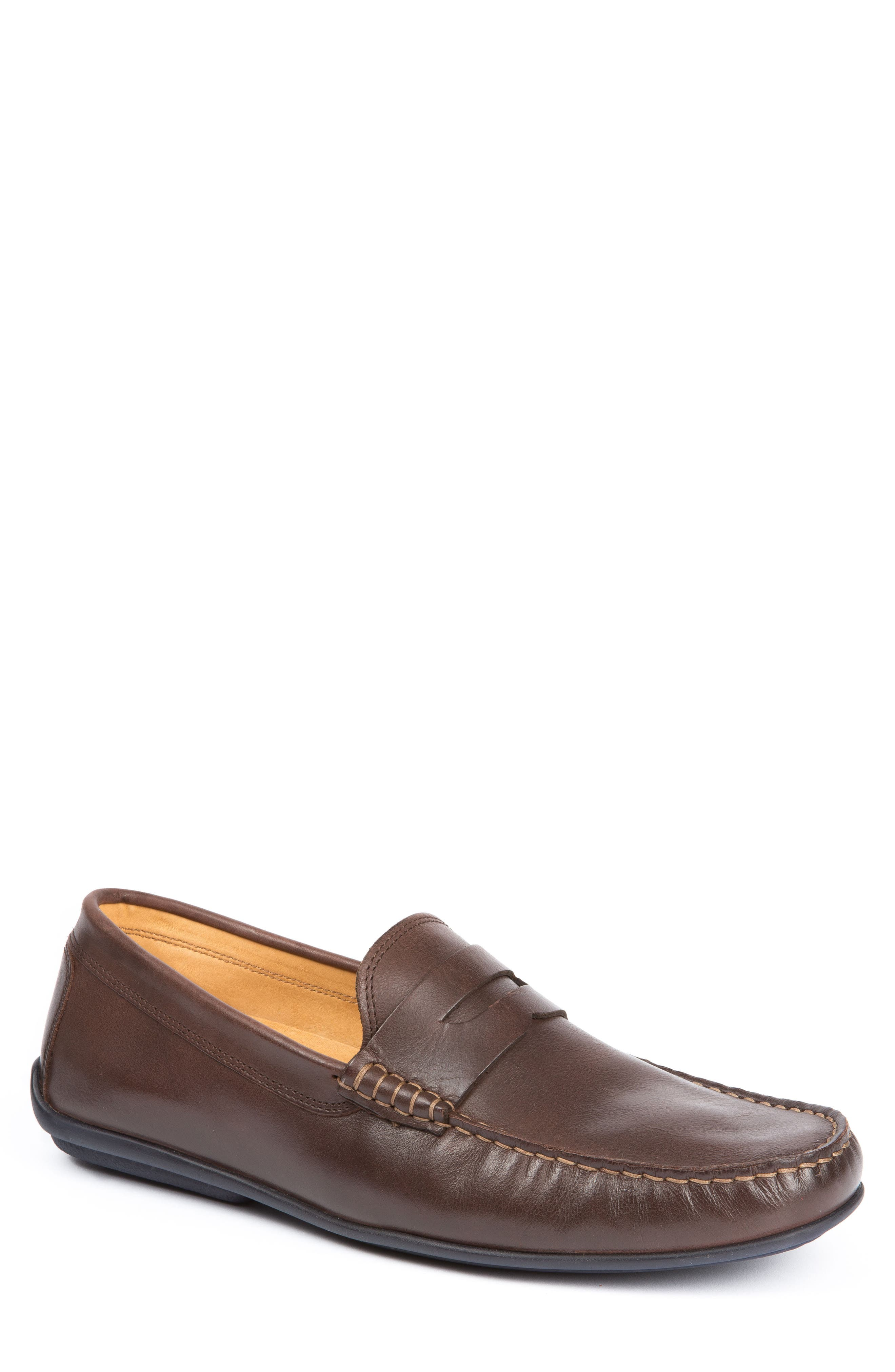'Strattons' Driving Shoe,                             Main thumbnail 1, color,                             BROWN LEATHER/ NAVY