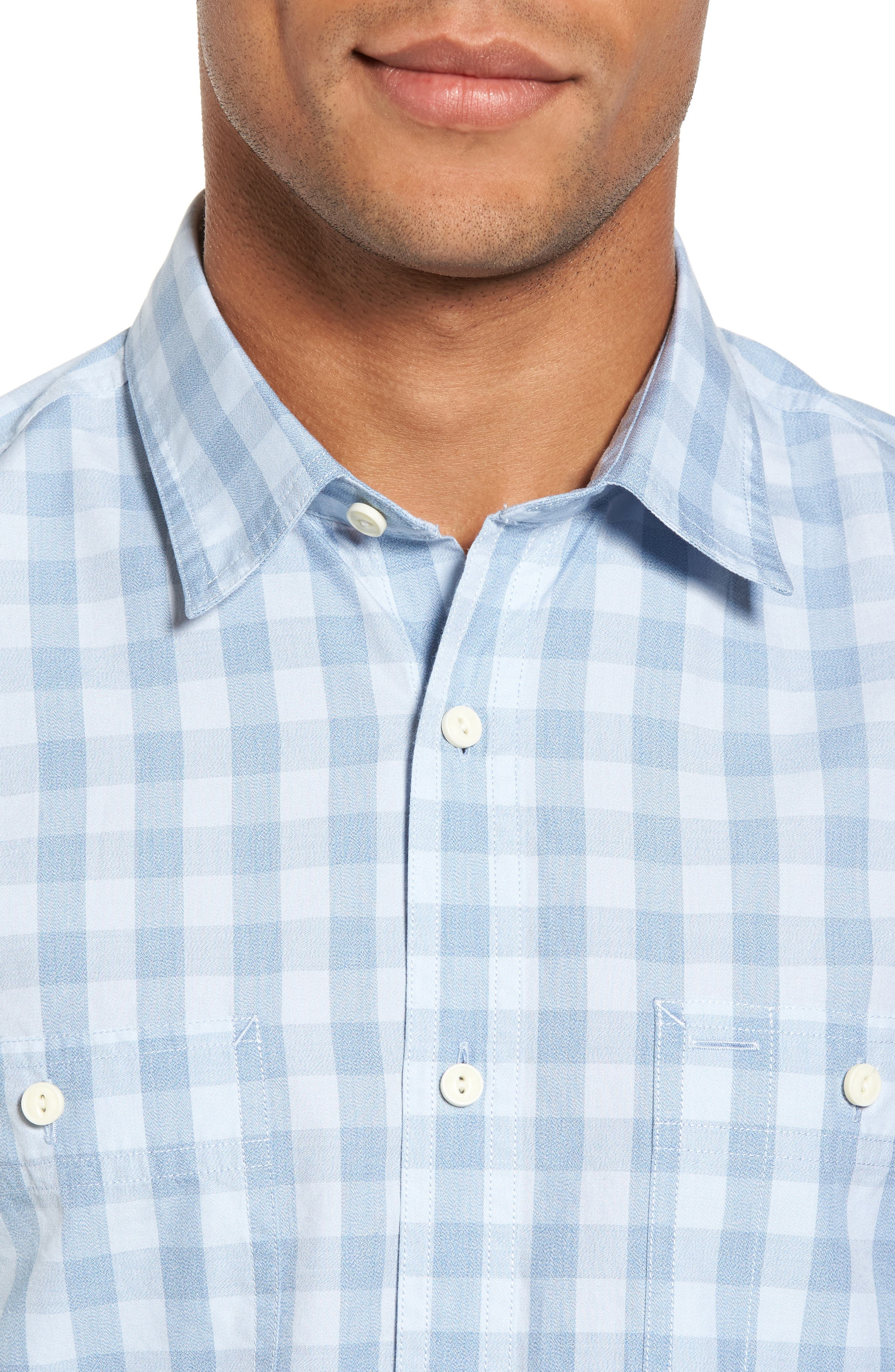 Trim Fit Washed Check Workwear Shirt,                             Alternate thumbnail 4, color,                             450