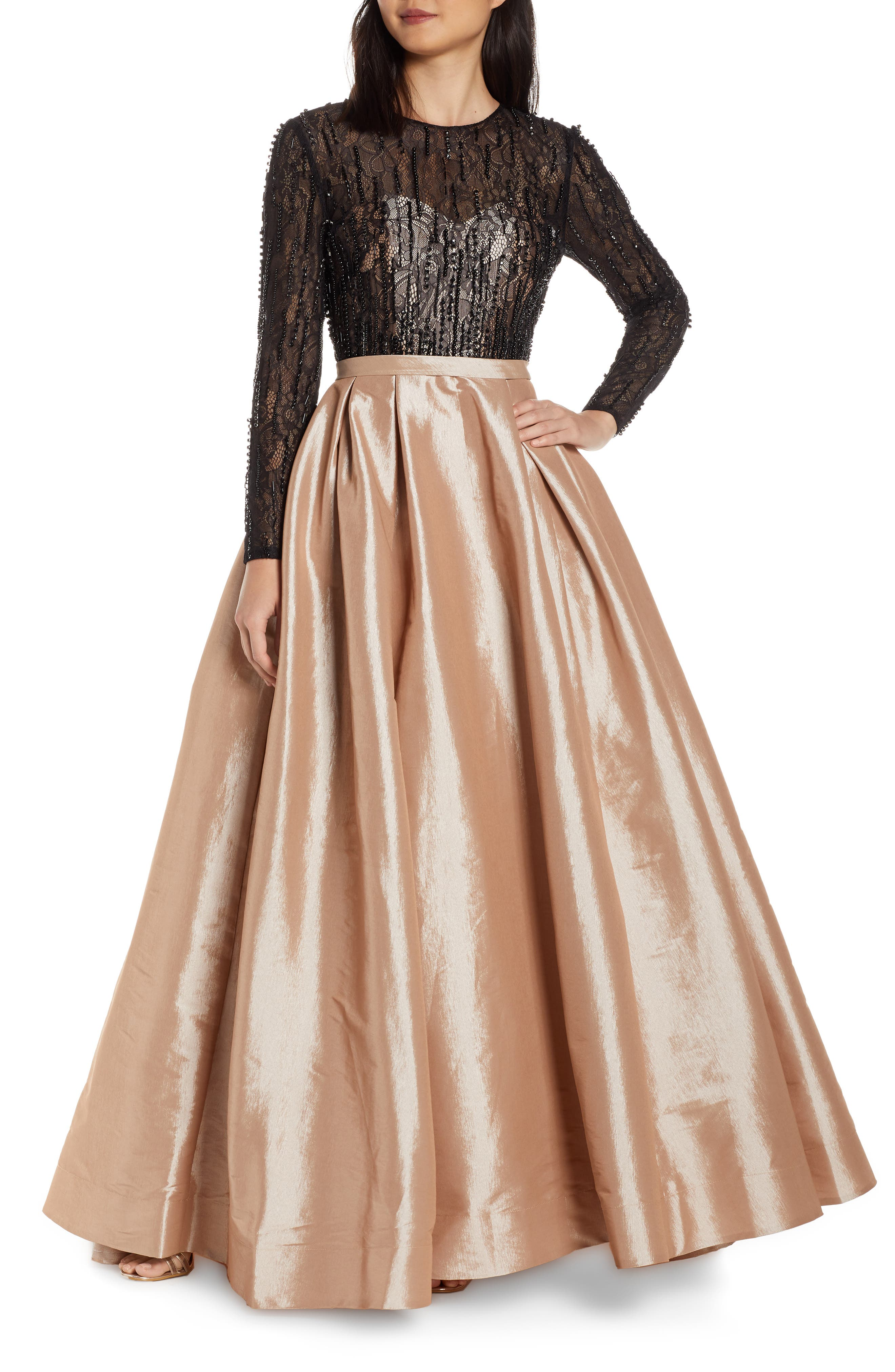 MAC Duggal Long Sleeve Illusion Lace Bodice Prom Dress, Beige