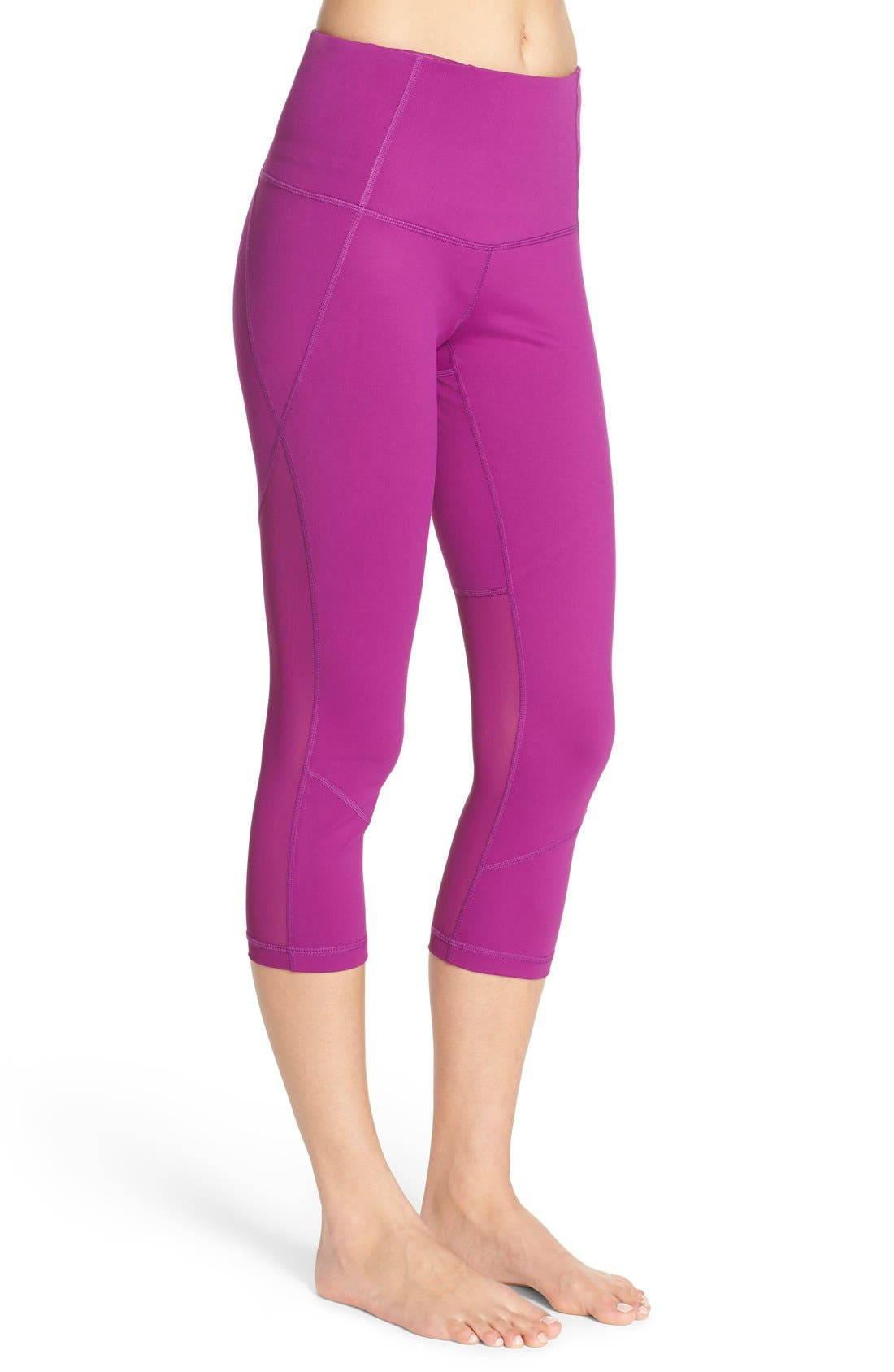 'Live In - Sultry' High Waist Mesh Crop Leggings,                             Alternate thumbnail 30, color,