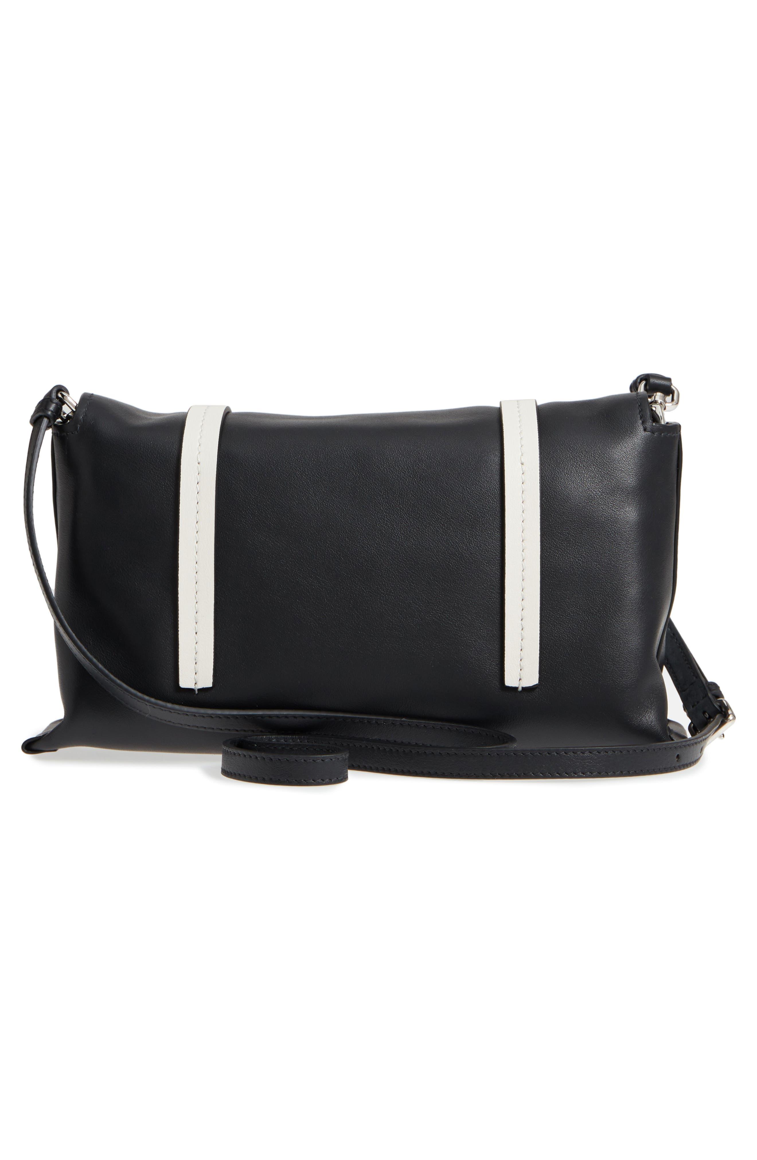 Small Grace Calfskin Shoulder Bag,                             Alternate thumbnail 3, color,                             NERO/ BIANCO