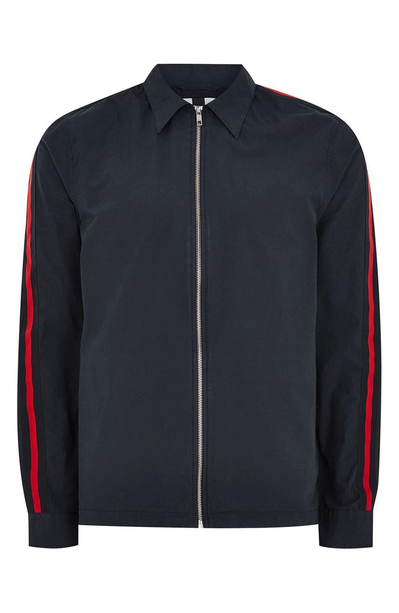 Stripe Sleeve Shirt Jacket,                             Alternate thumbnail 3, color,                             411