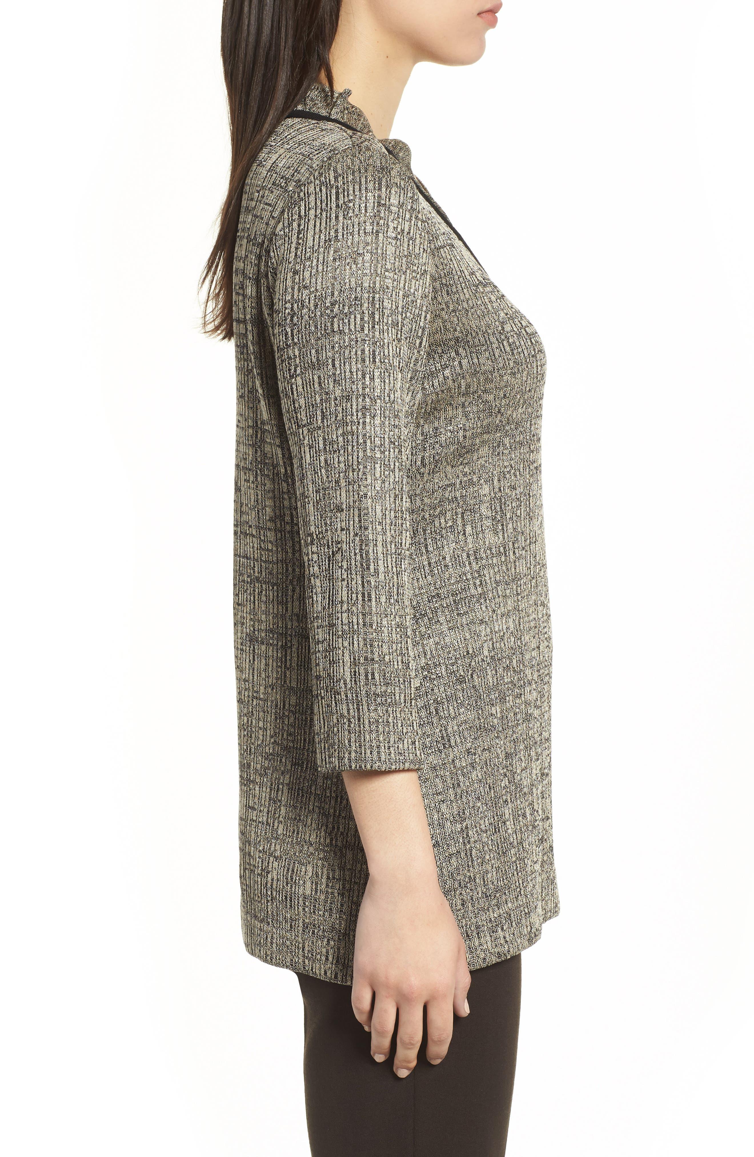 Textured Knit Tunic,                             Alternate thumbnail 3, color,                             CEDAR/ BLACK