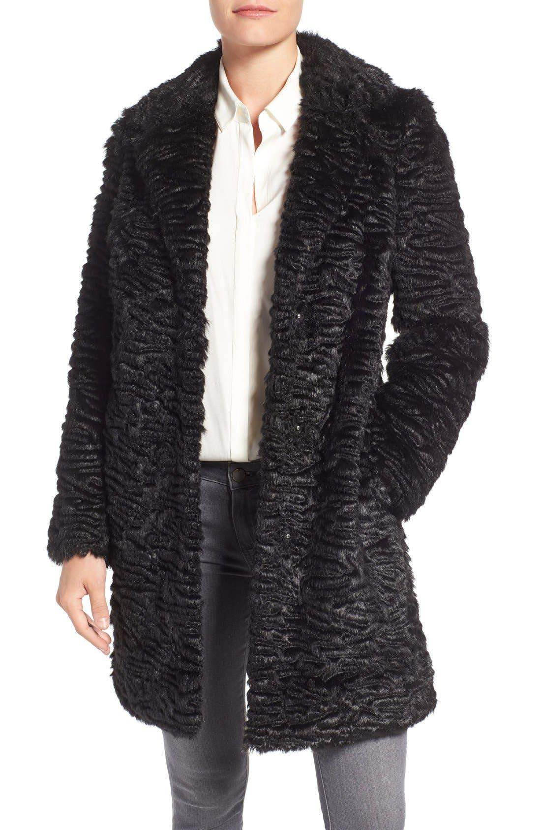 Faux Persian Lamb Coat,                         Main,                         color, 001