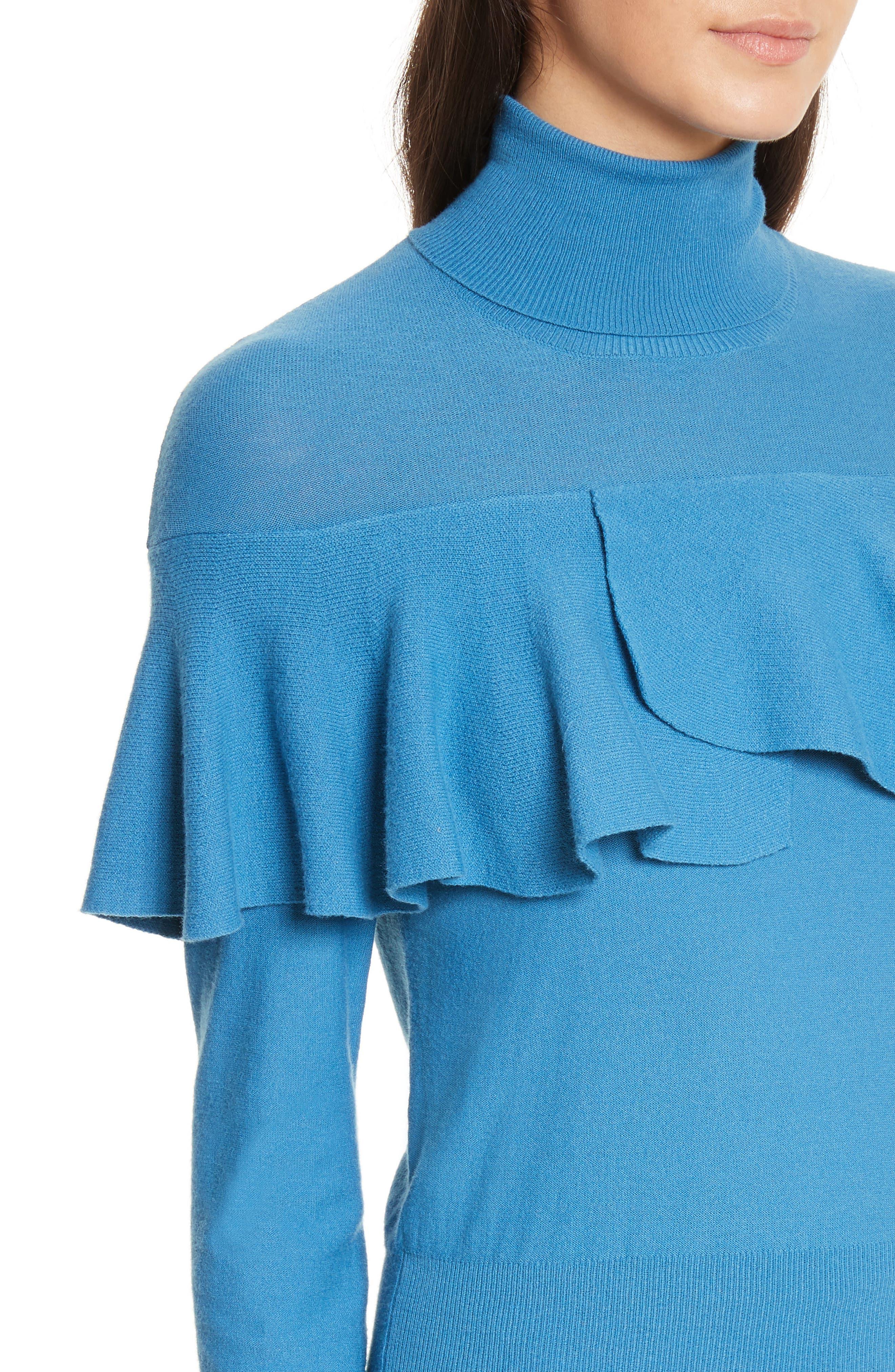 Flounced Turtleneck Sweater,                             Alternate thumbnail 4, color,                             487