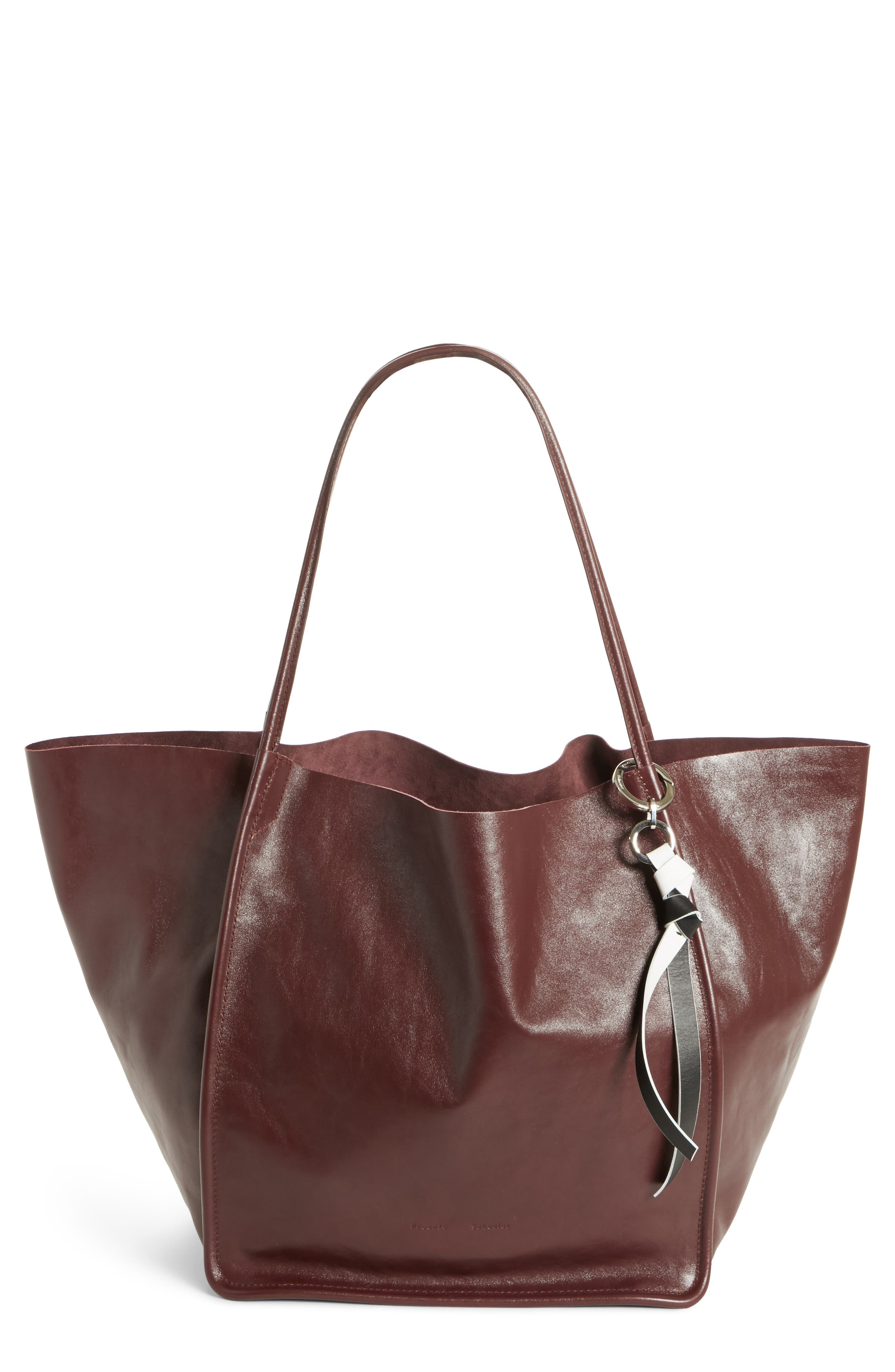 Extra Large Leather Tote,                             Main thumbnail 1, color,                             CORDOVAN
