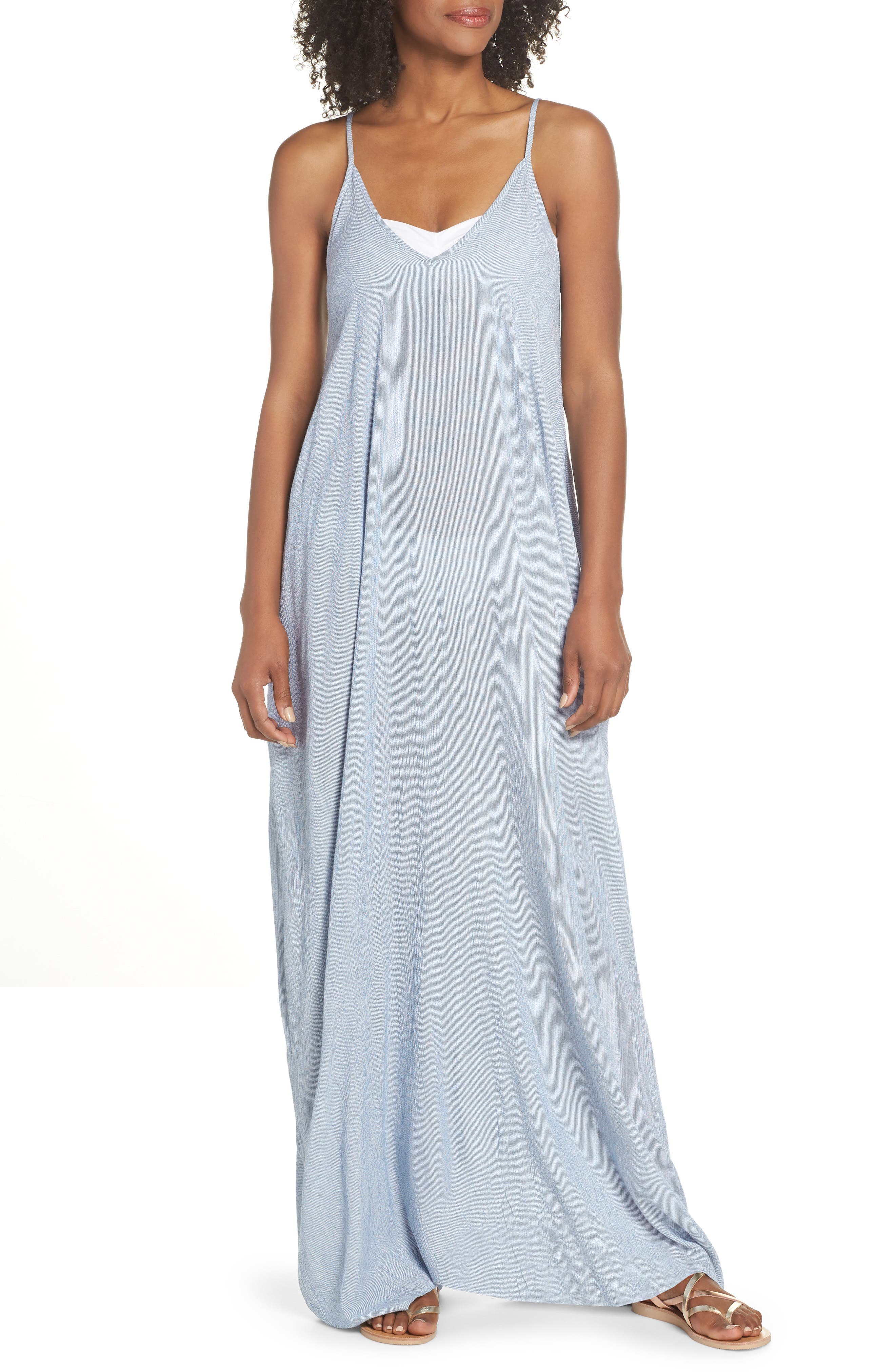 Cover-Up Maxi Dress,                             Main thumbnail 1, color,                             BLUE STRIPE