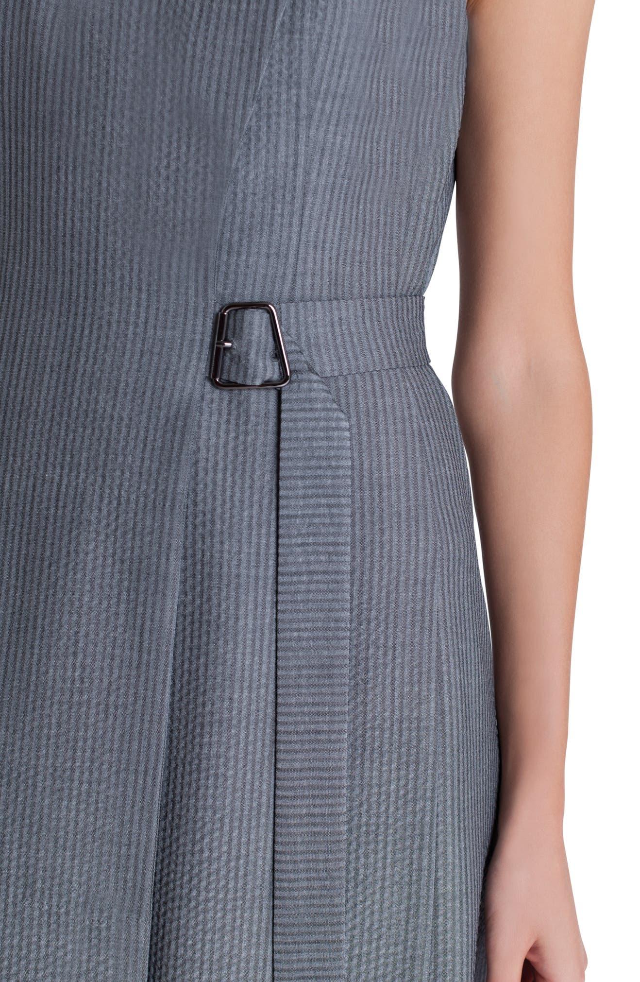bddab337367 Akris Faux Wrap Wool Blend Seersucker Dress