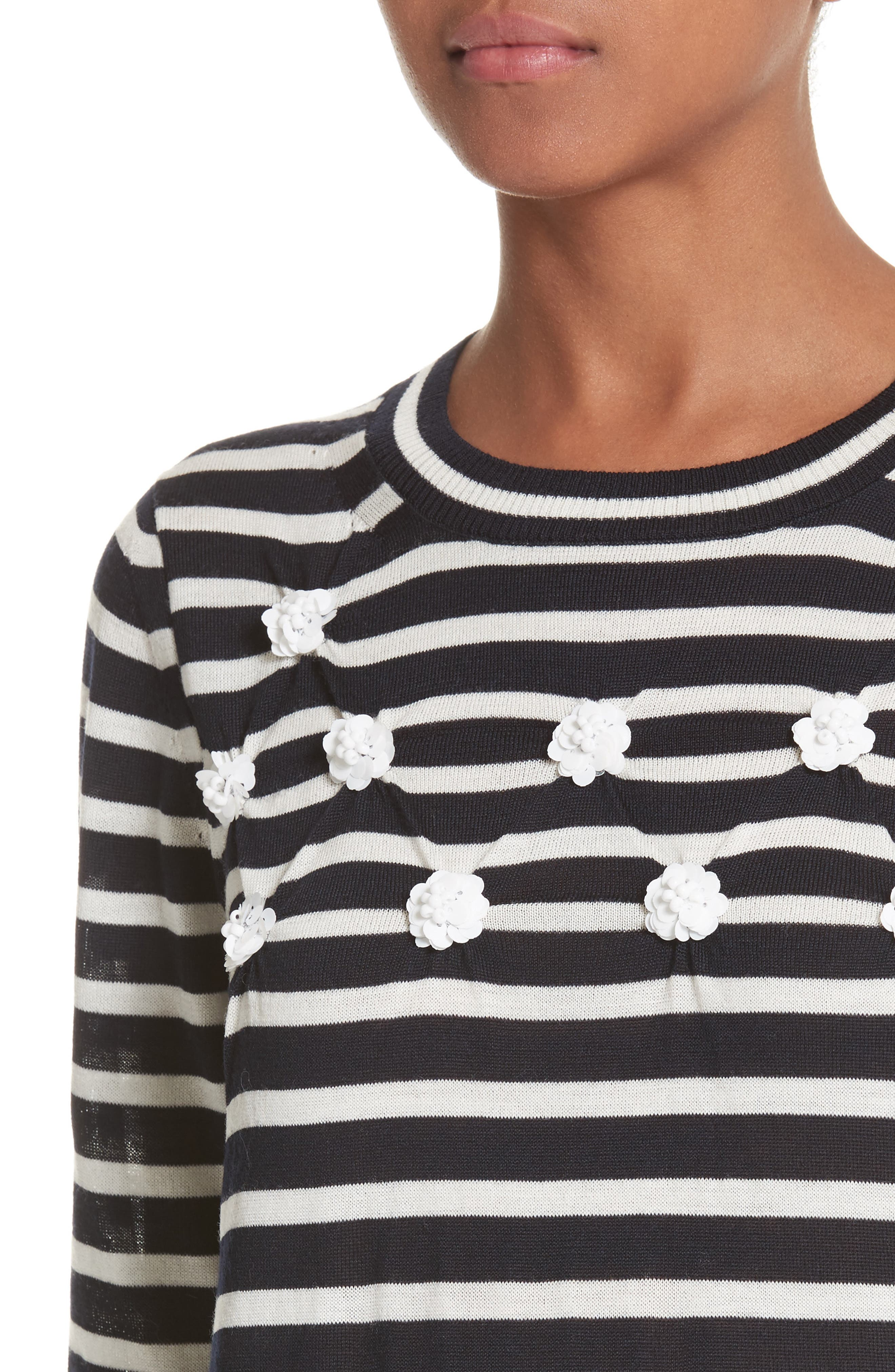 Button Back Stripe Sweater,                             Alternate thumbnail 4, color,                             410