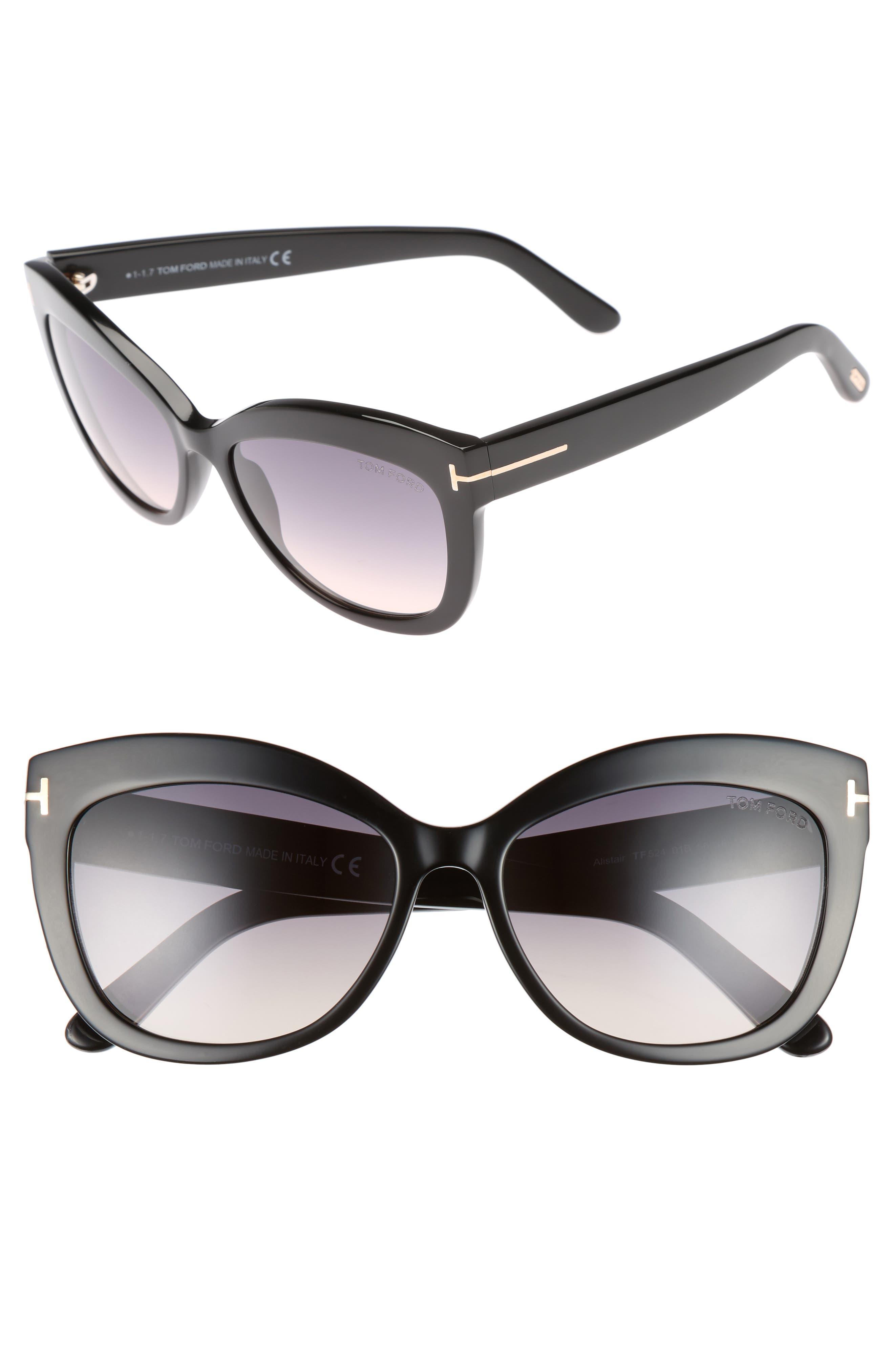 Alistair 56mm Gradient Sunglasses,                             Main thumbnail 1, color,                             SHINY BLACK / GRADIENT SMOKE