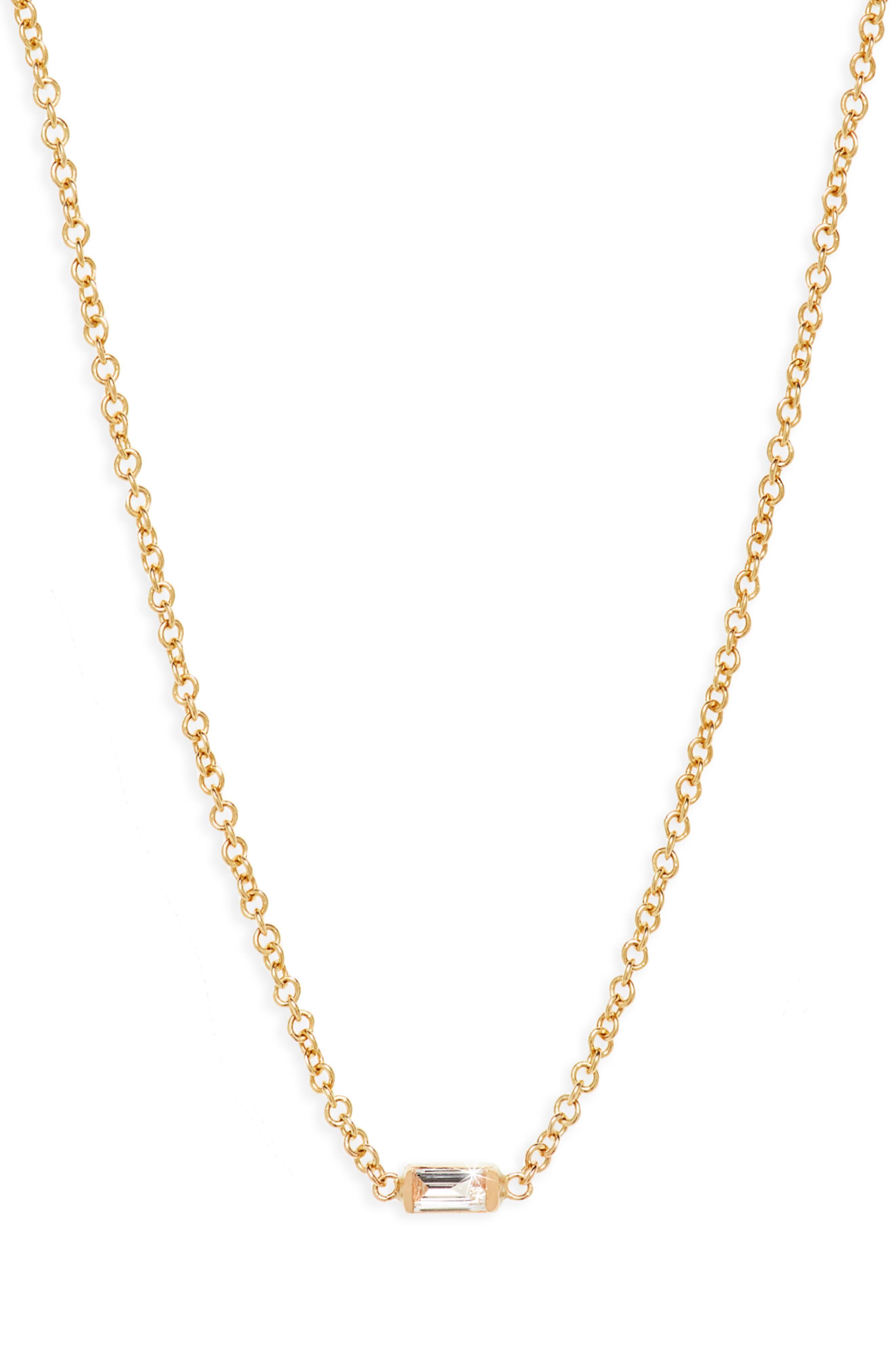 Diamond Baguette Pendant Necklace,                             Main thumbnail 1, color,                             YELLOW GOLD
