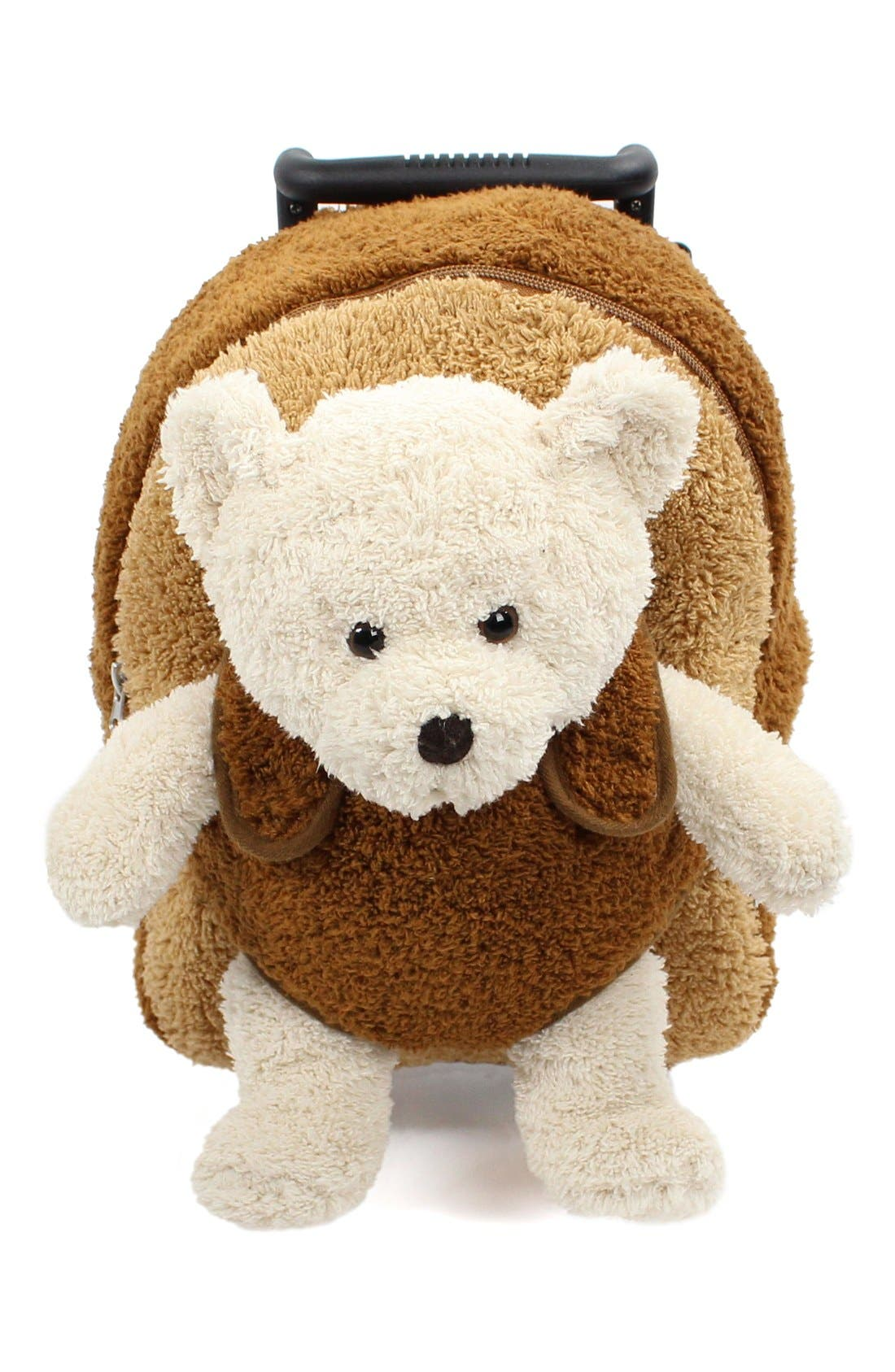 'Aviator Bear' Rolling Backpack,                             Alternate thumbnail 5, color,                             BROWN