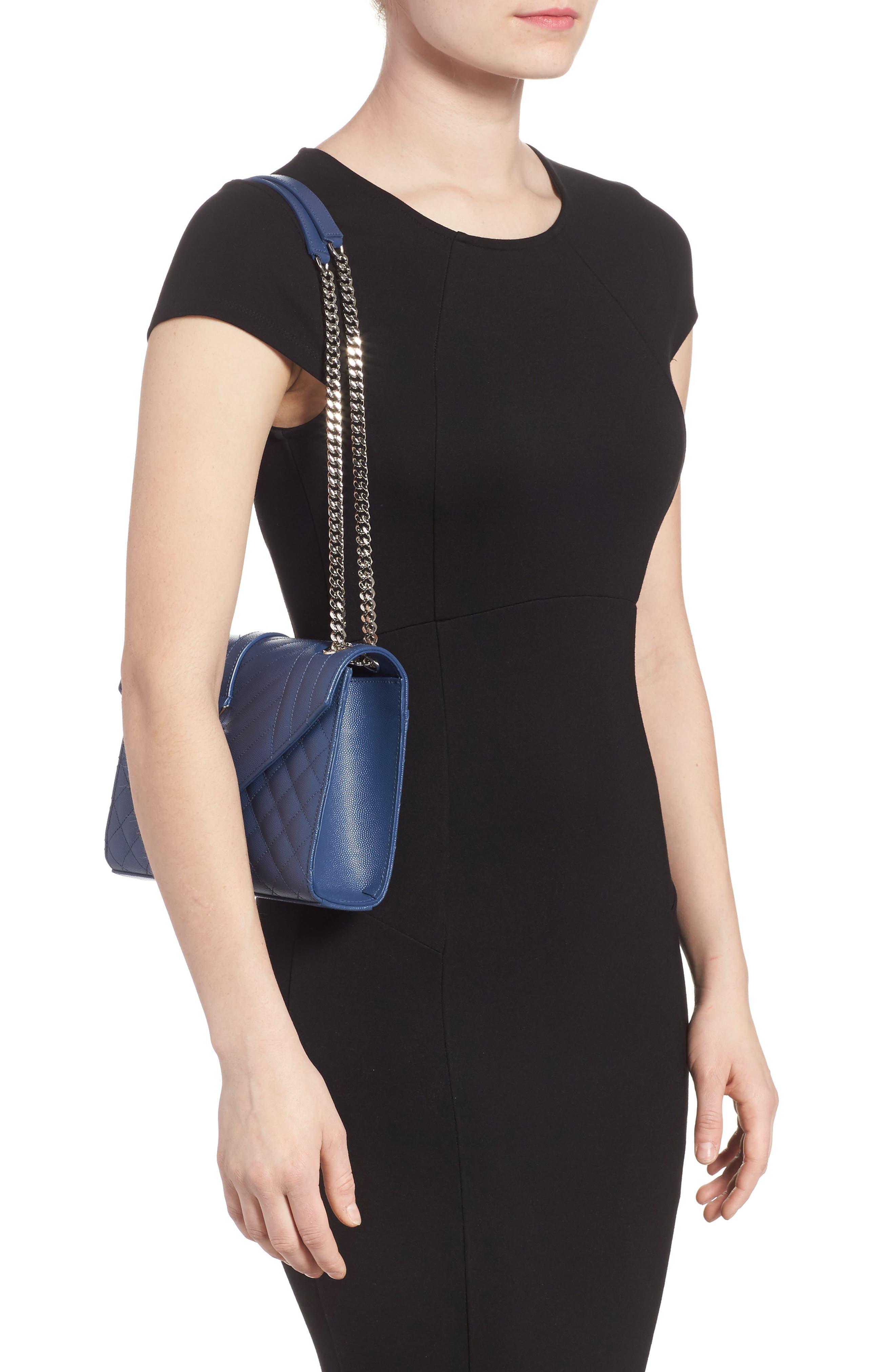 Medium Cassandra Calfskin Shoulder Bag,                             Alternate thumbnail 2, color,                             DEEP MARINE