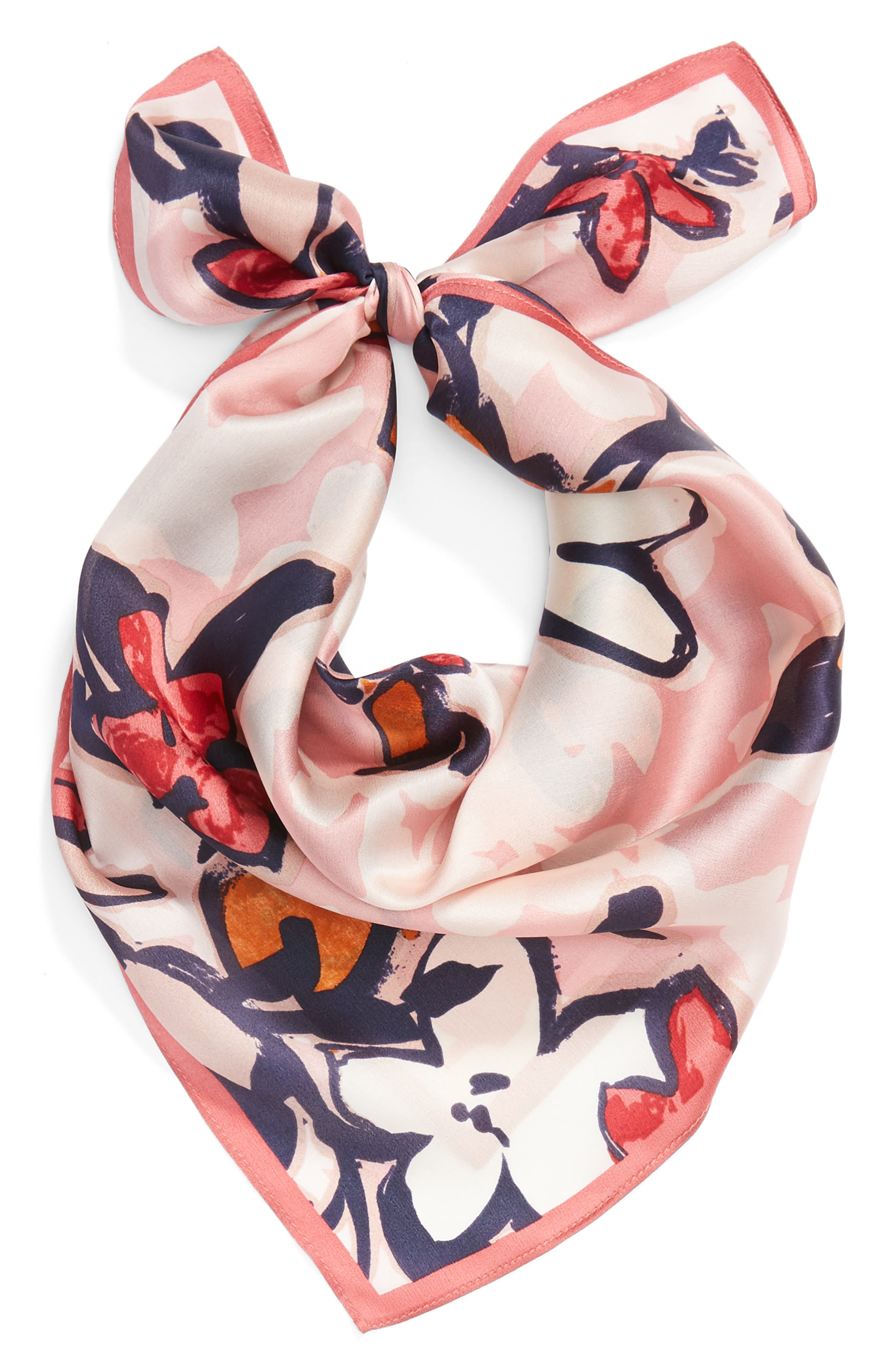 Bloom Floral Silk Square Scarf,                             Alternate thumbnail 9, color,