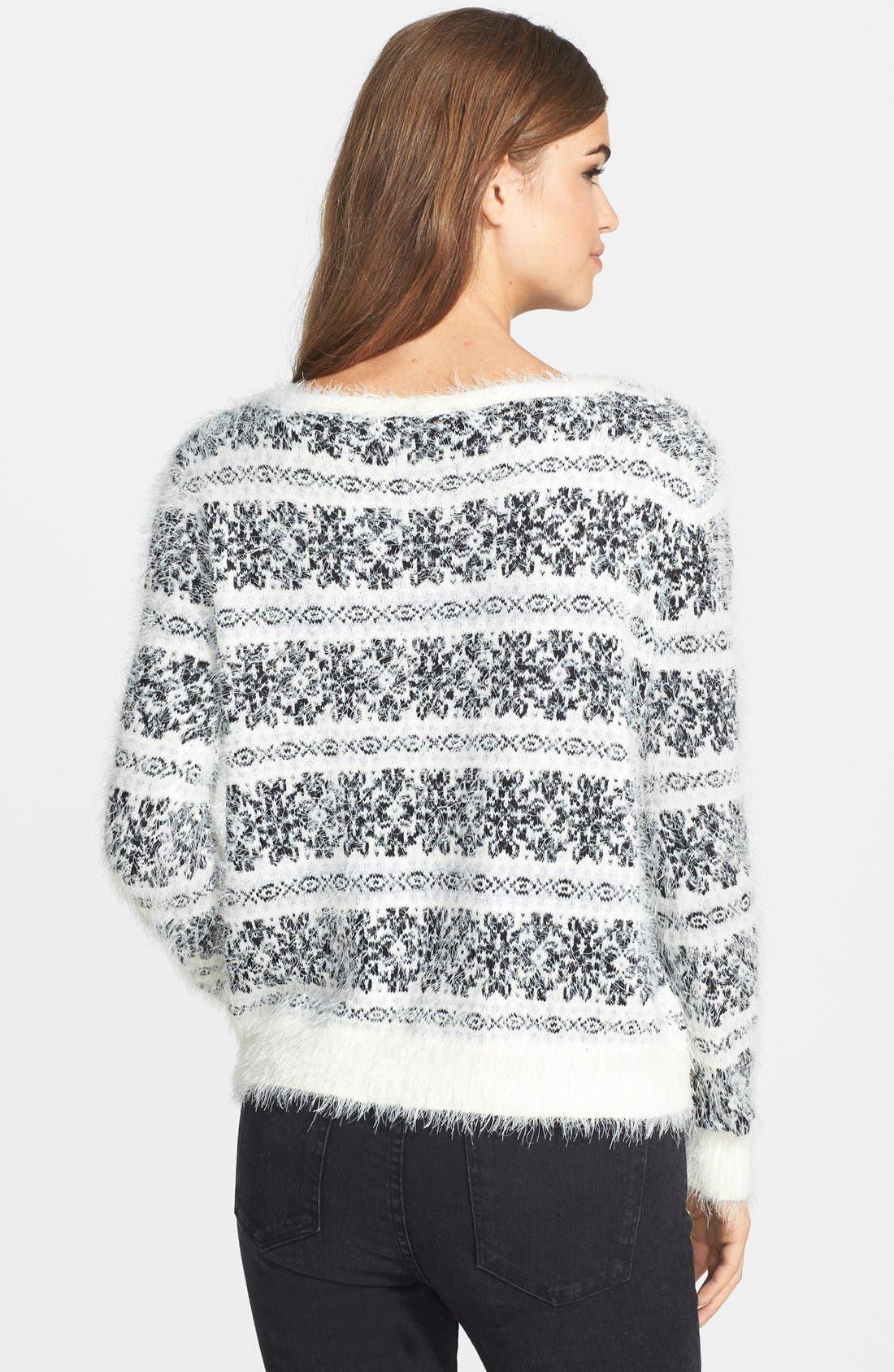 'Feather' Snowflake Print Sweater,                             Alternate thumbnail 3, color,                             100